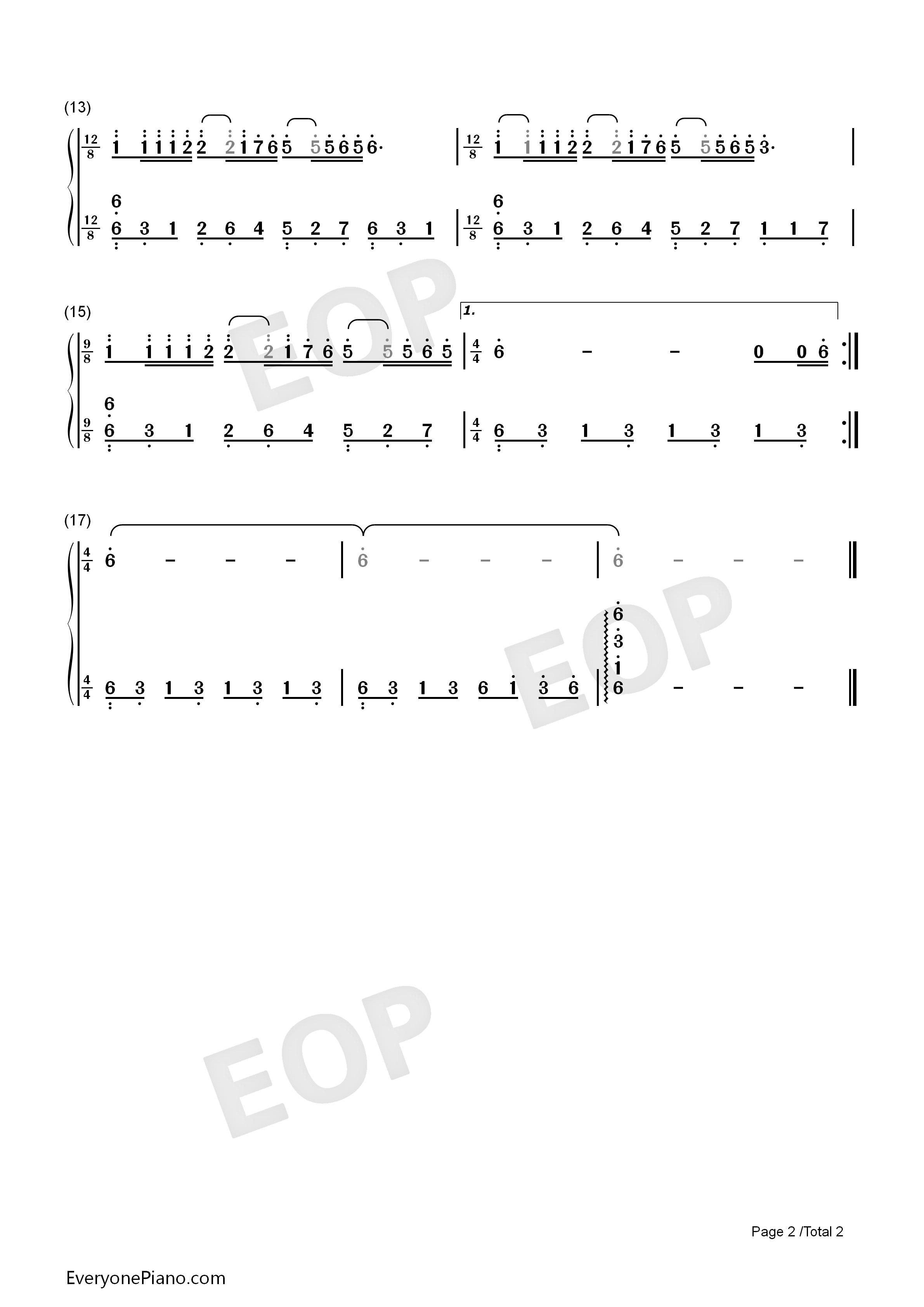 钢琴曲谱 经典 梦中的婚礼-简单版 梦中的婚礼-简单版双手简谱预览2