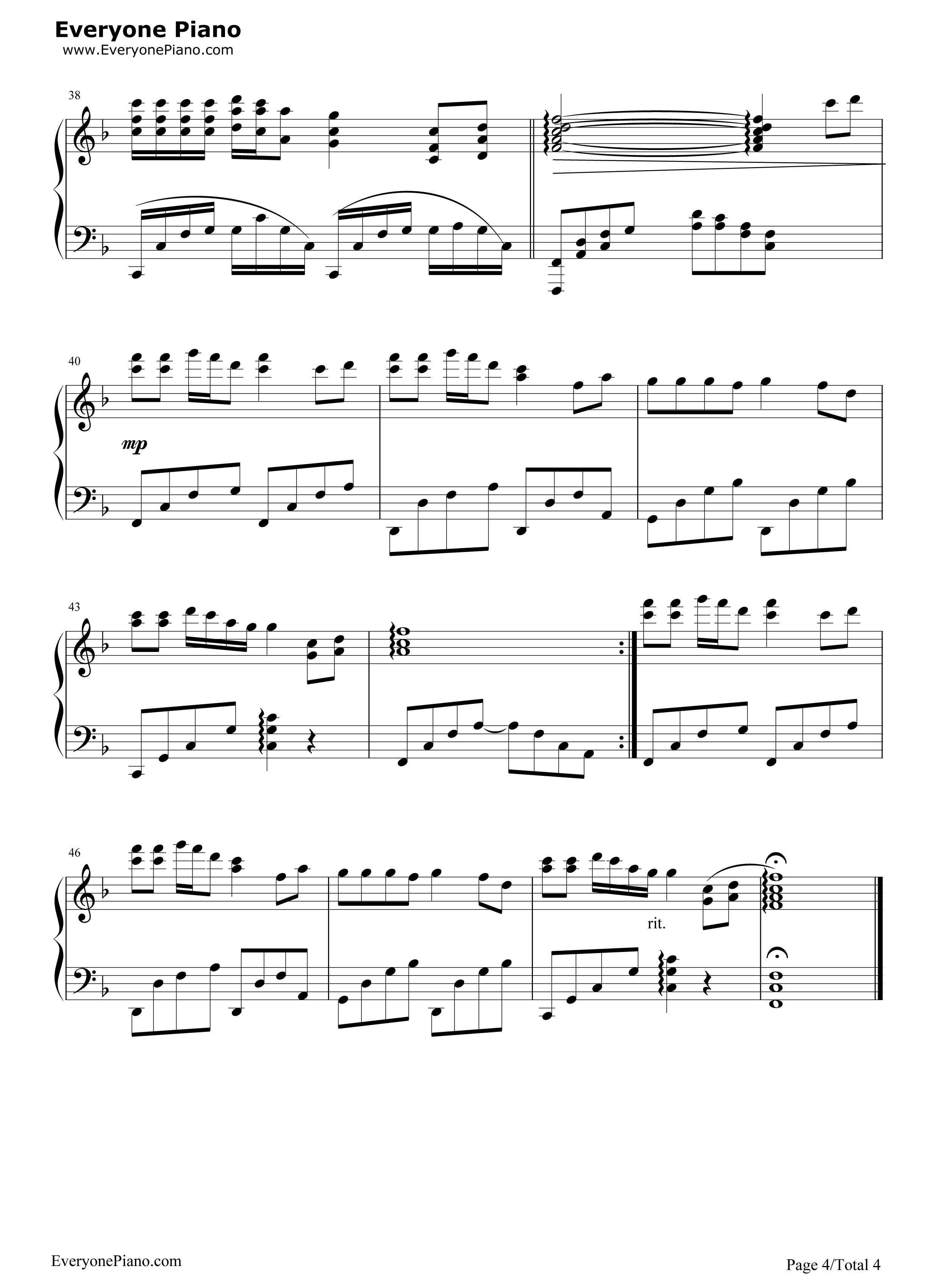 钢琴曲谱 流行 甘心情愿-郭峰-eop教学曲 甘心情愿-郭峰-eop教学曲