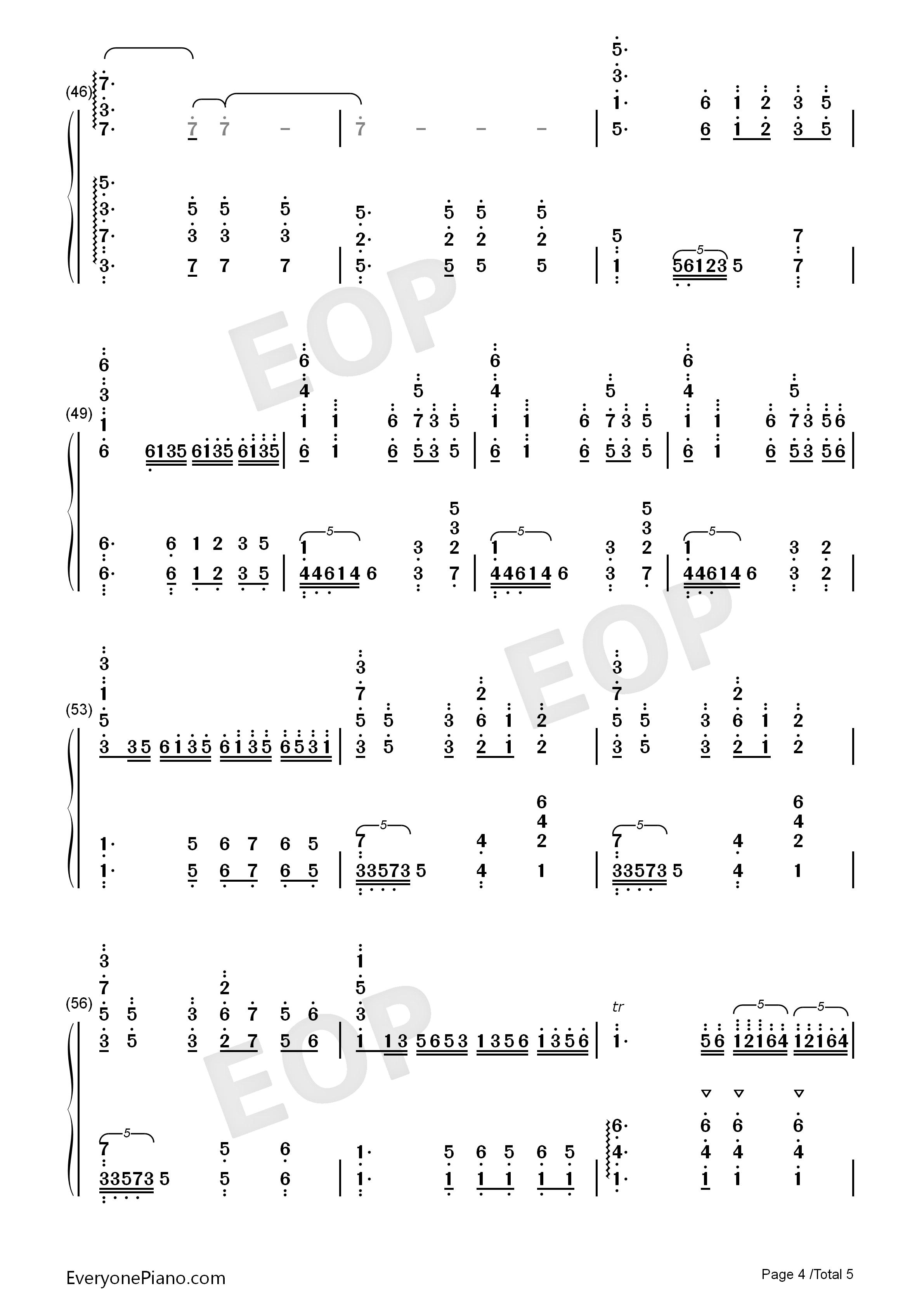 彩云追月-经典民乐-eop教学曲双手简谱预览4