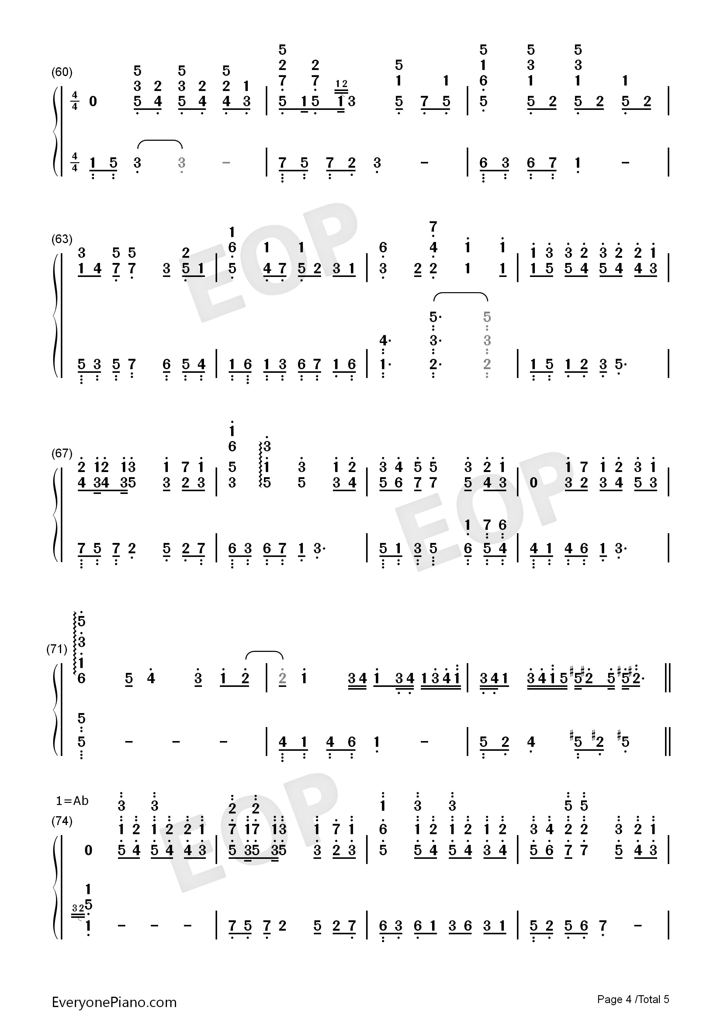 钢琴曲谱 流行 first love -eop教学曲-宇多田光 first love -eop教学