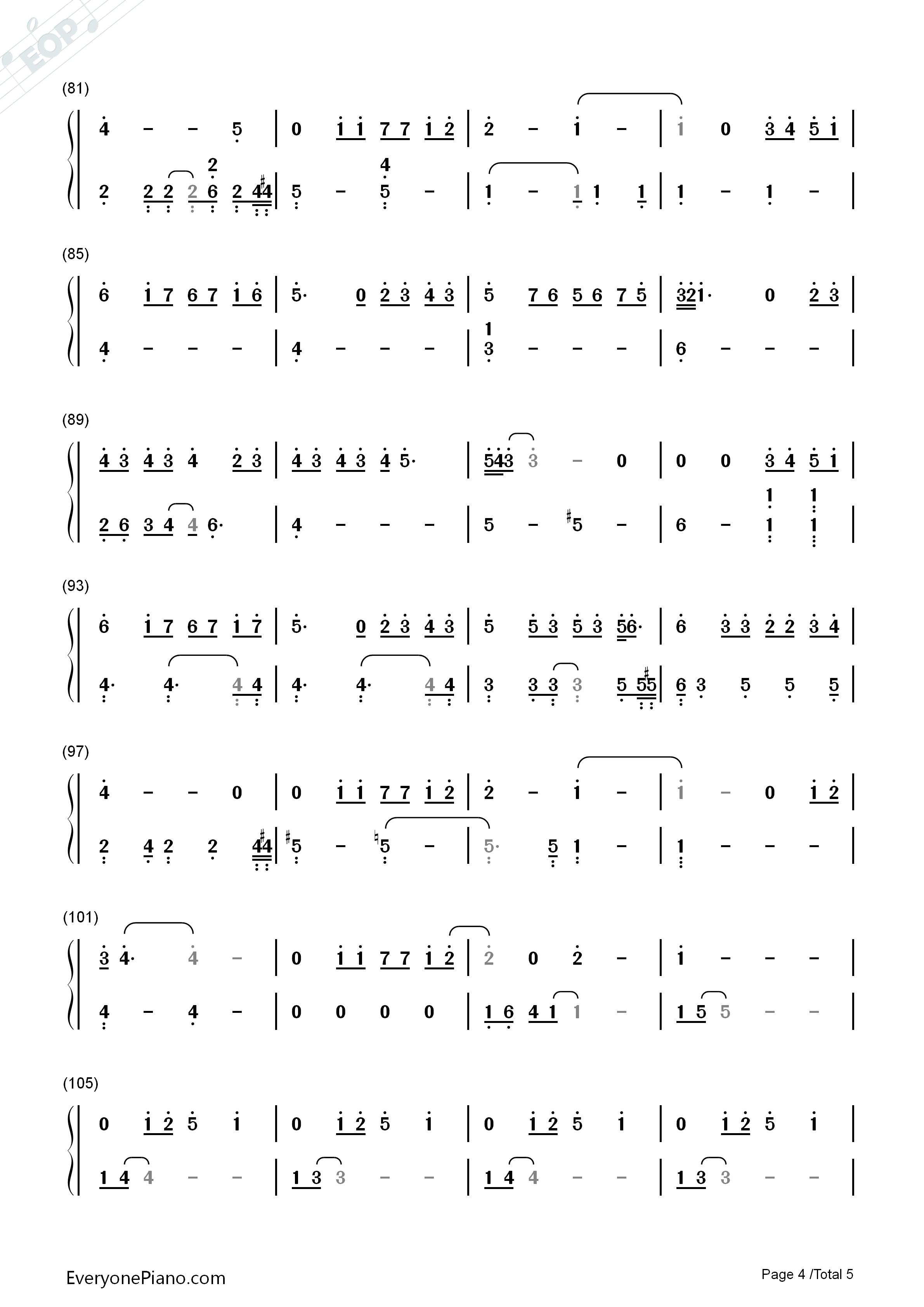 她说-林俊杰-eop教学曲双手简谱预览4