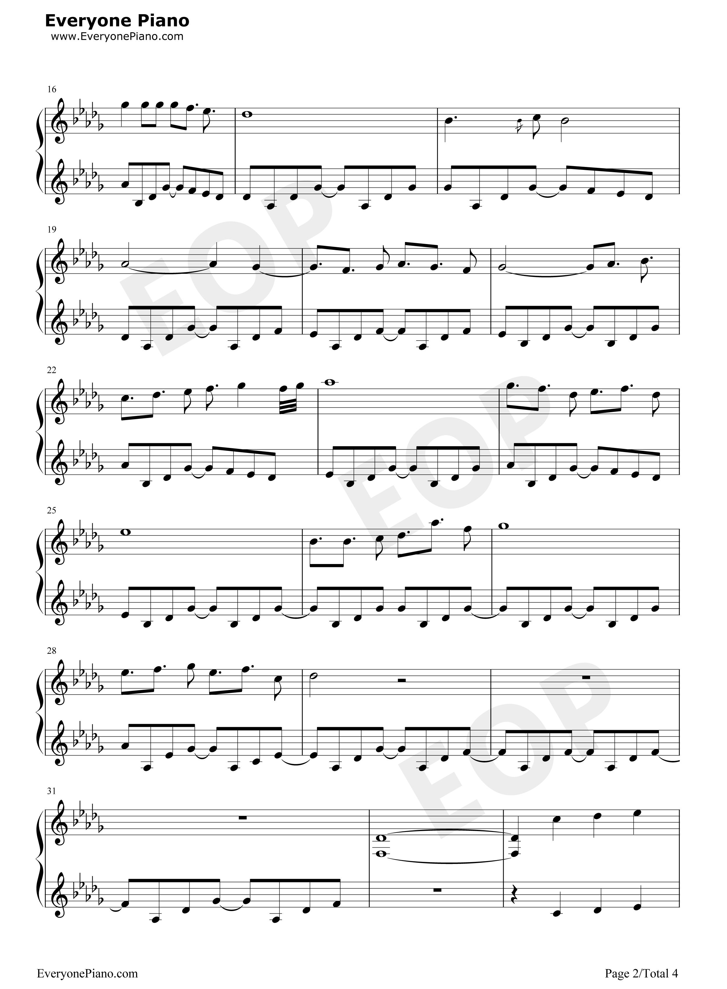 钢琴曲谱 动漫 天空之城-冒险岛maple story背景音乐 天空之城-冒险岛