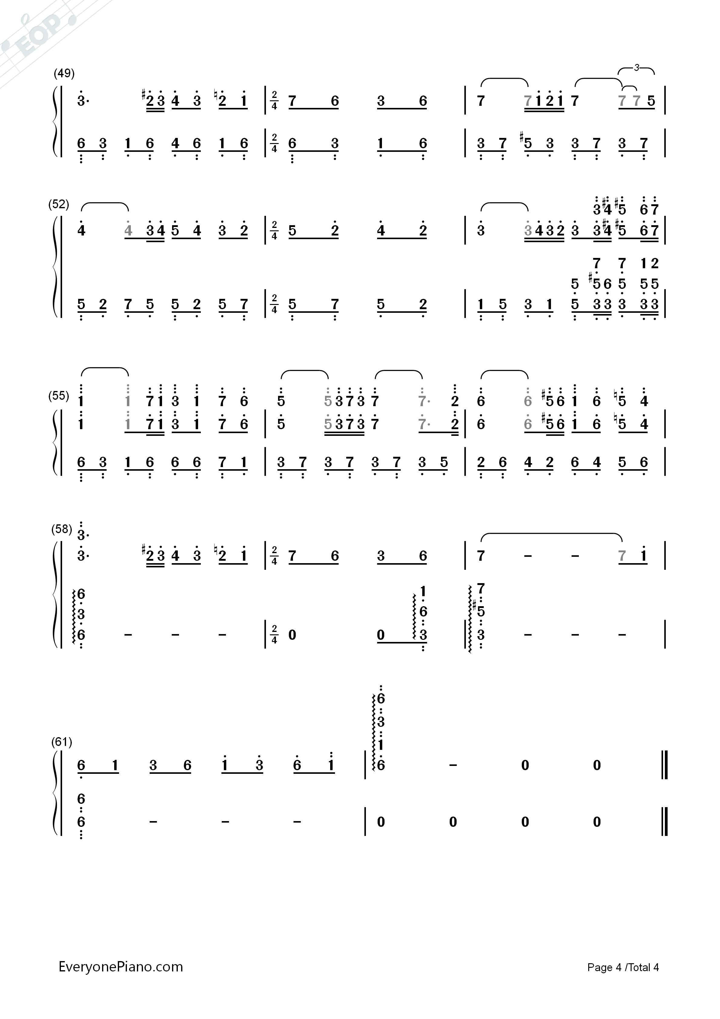 橄榄树钢琴简谱数字