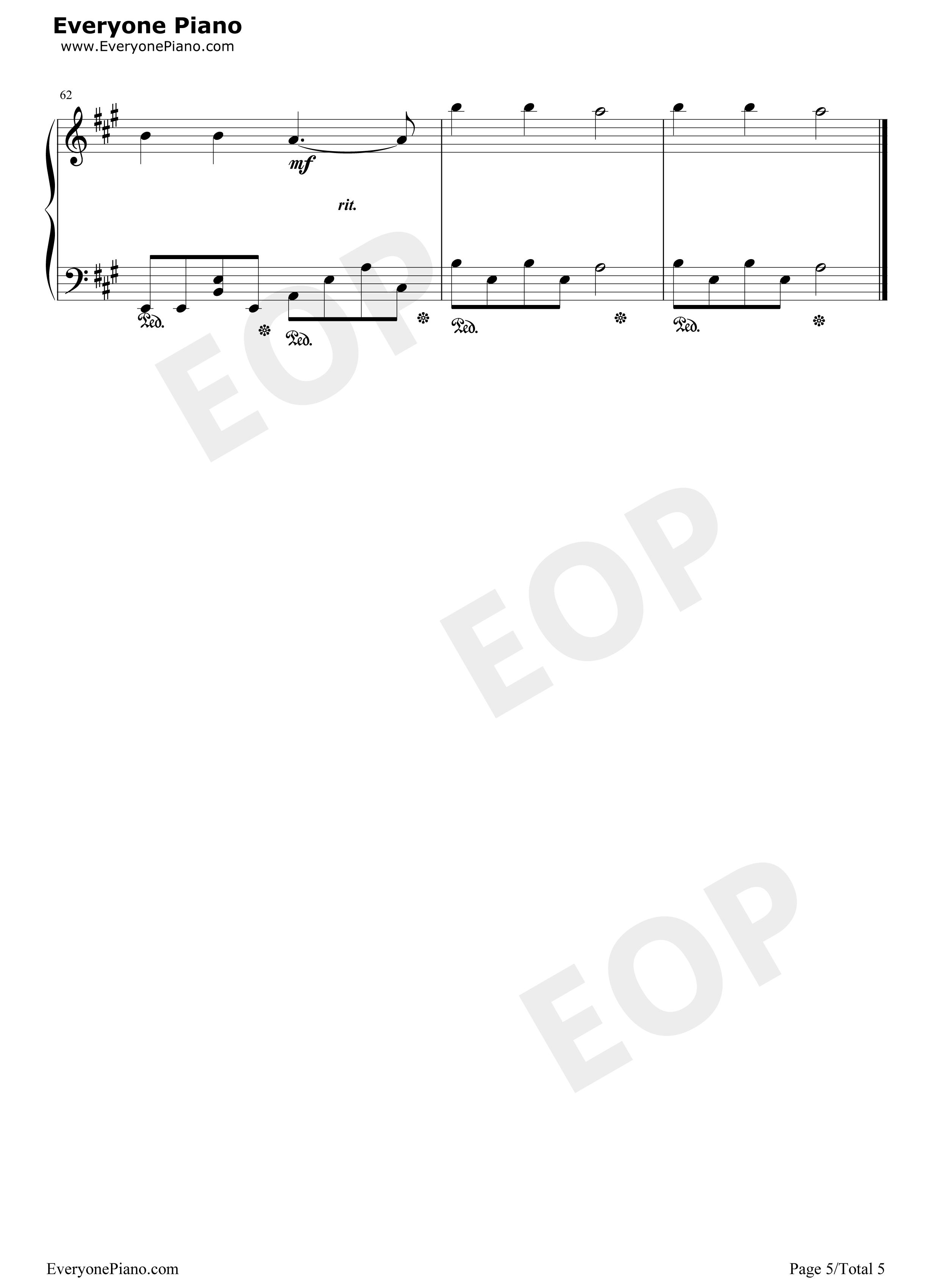钢琴曲谱 流行 为你写诗-吴克群-eop教学曲
