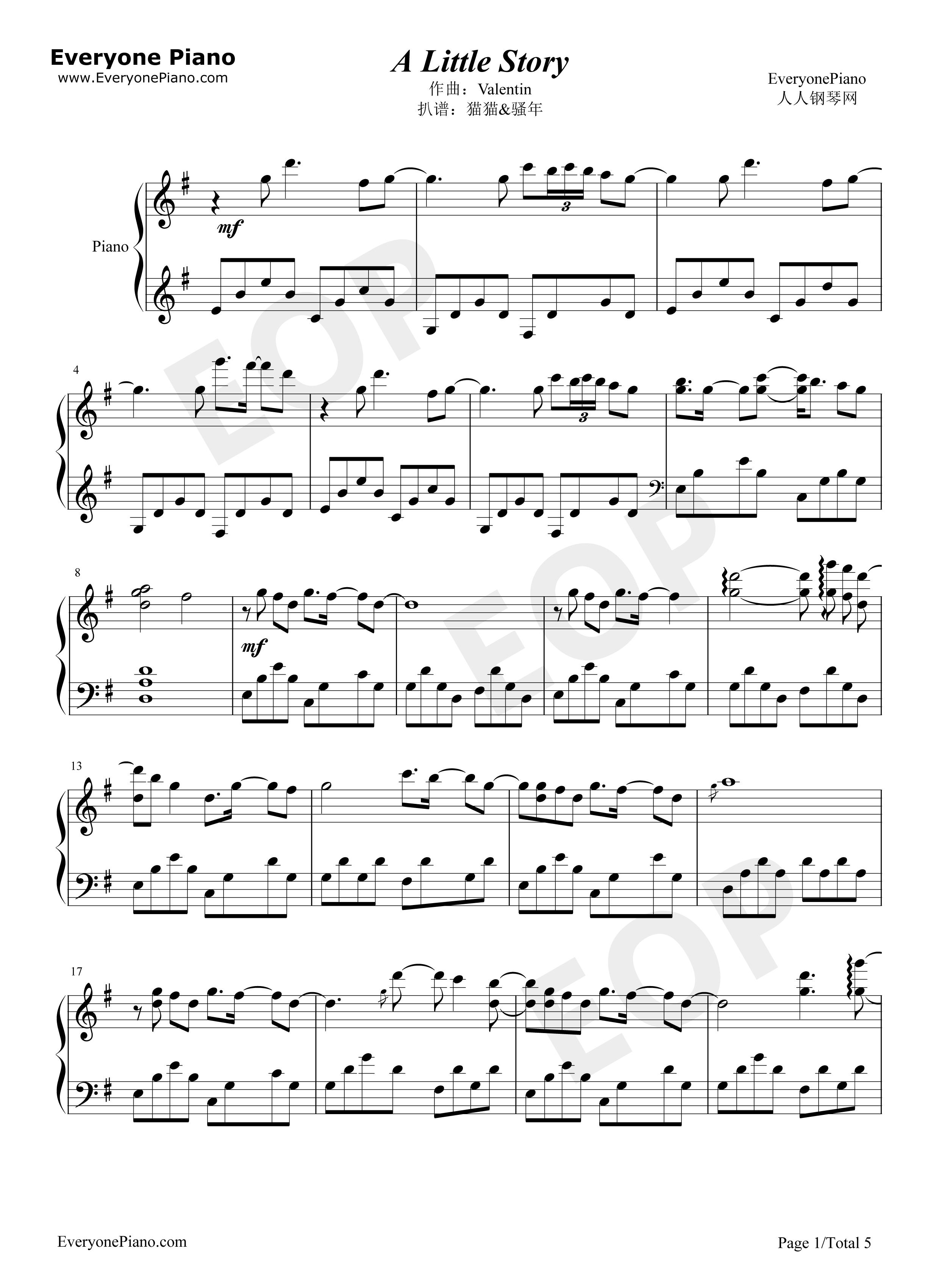 钢琴曲轻音乐谱-A Little Story - Valentin五线谱预览