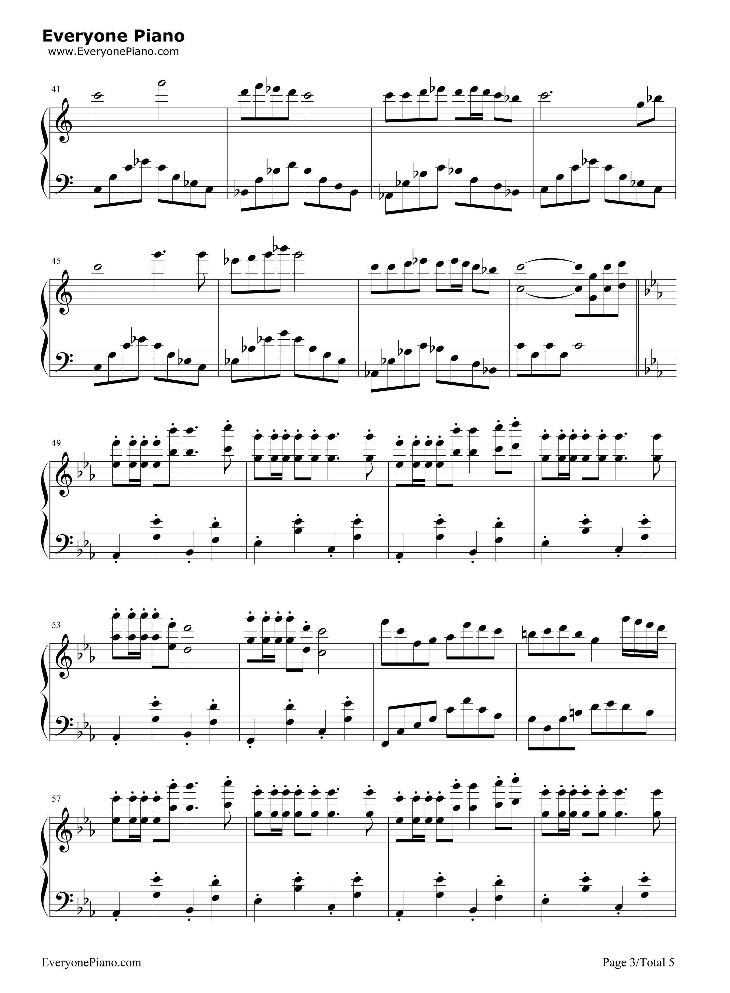钢琴曲谱 民乐 欢沁-林海 欢沁-林海五线谱预览3  }  仅供学习交流