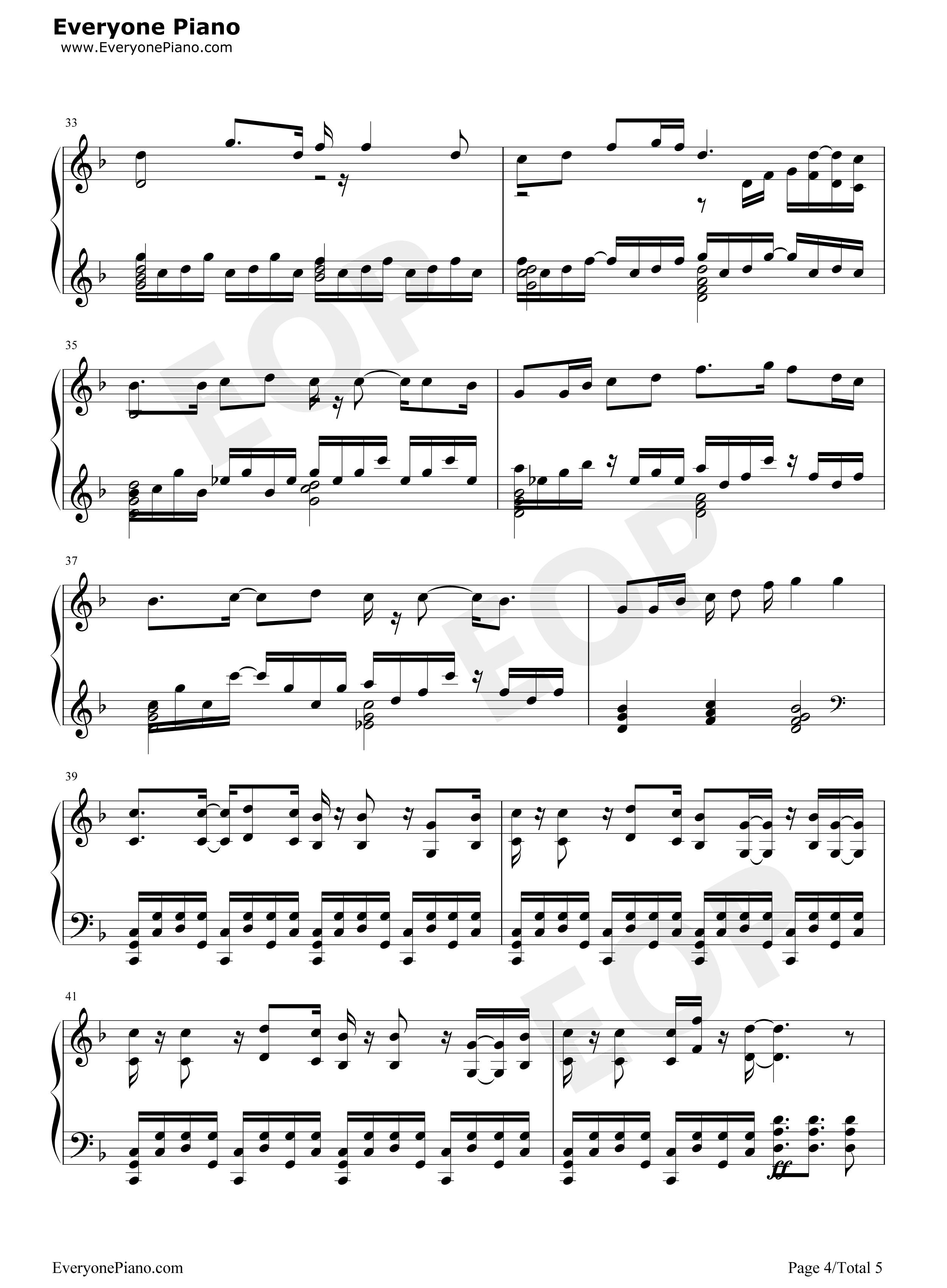 笑傲江湖-刘正风五线谱预览4-钢琴谱档(五线谱,双手