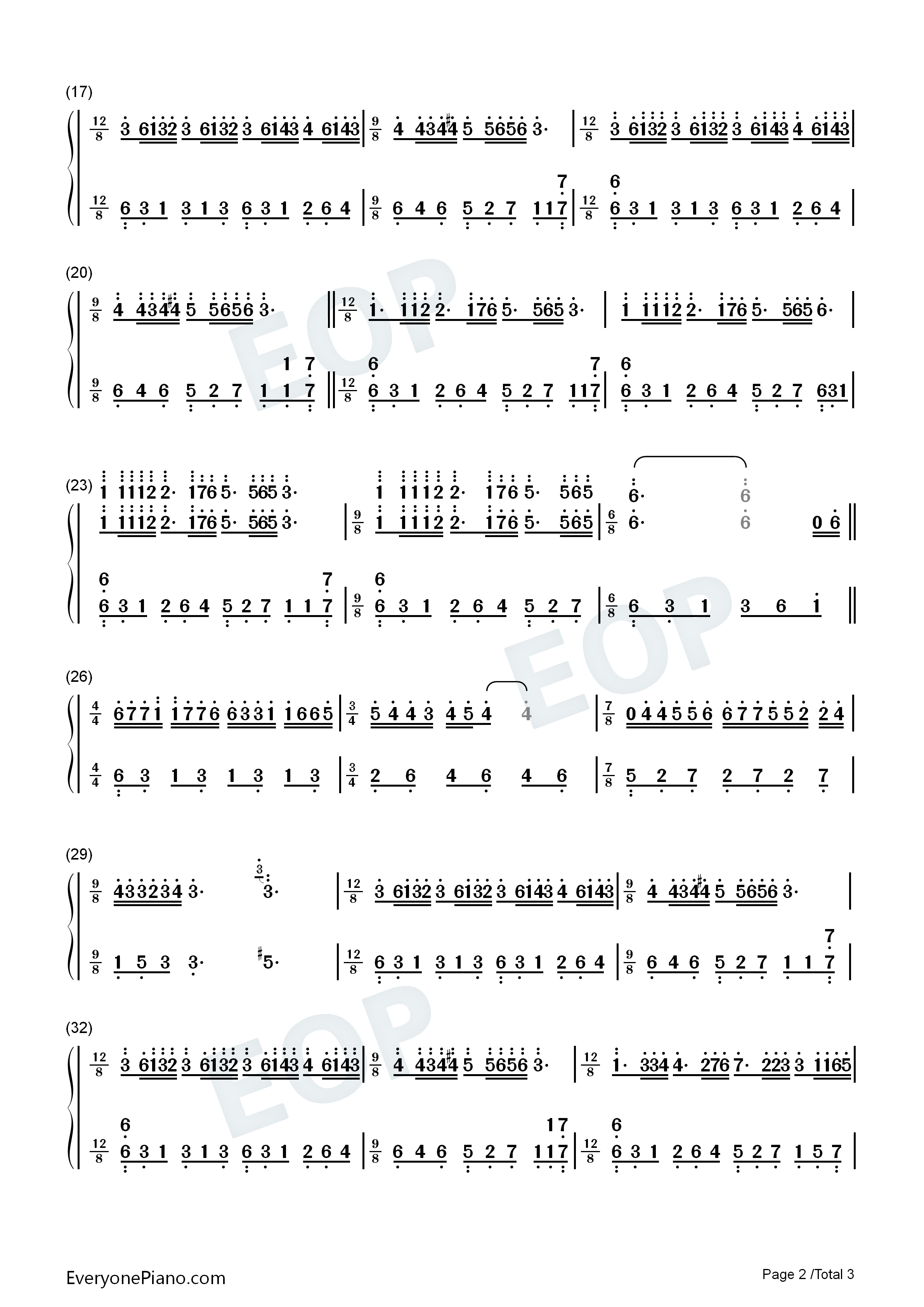 梦中的婚礼-带力度版本双手简谱预览2-钢琴谱图片