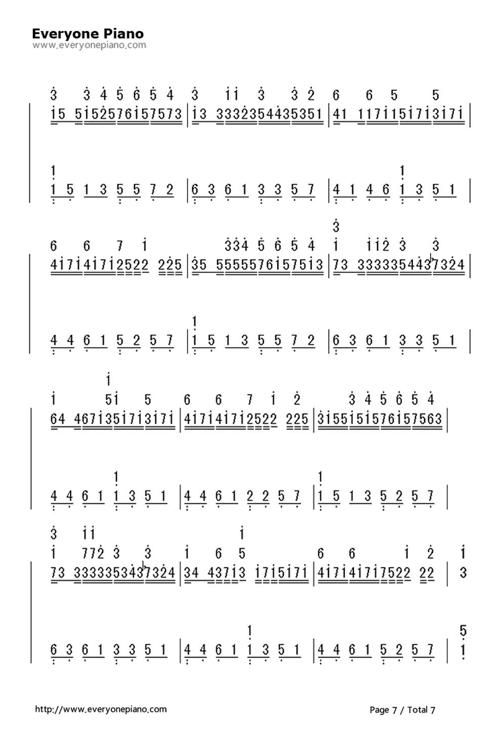 青春 练手钢琴曲谱-手简谱预览7 钢琴谱档 五线谱 双手简谱 数位谱 Midi PDF 免费下载