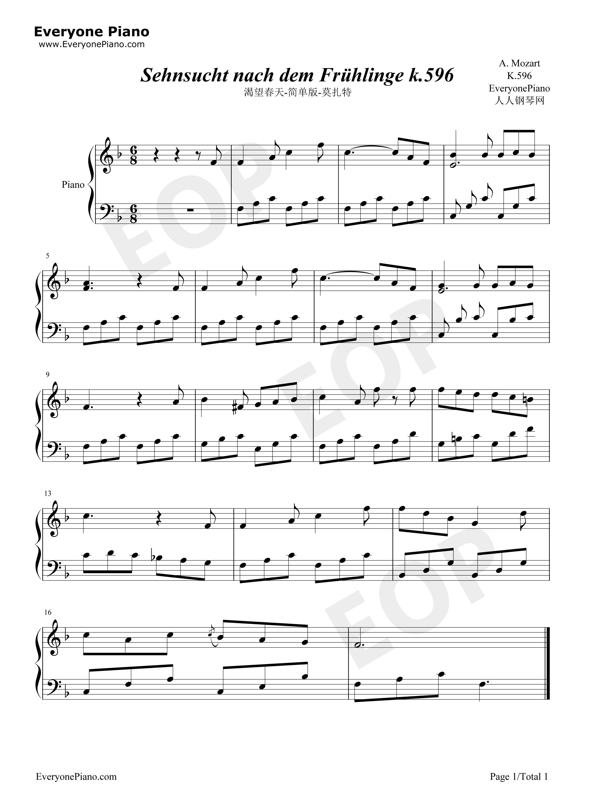 渴望春天-莫扎特-简单版五线谱预览