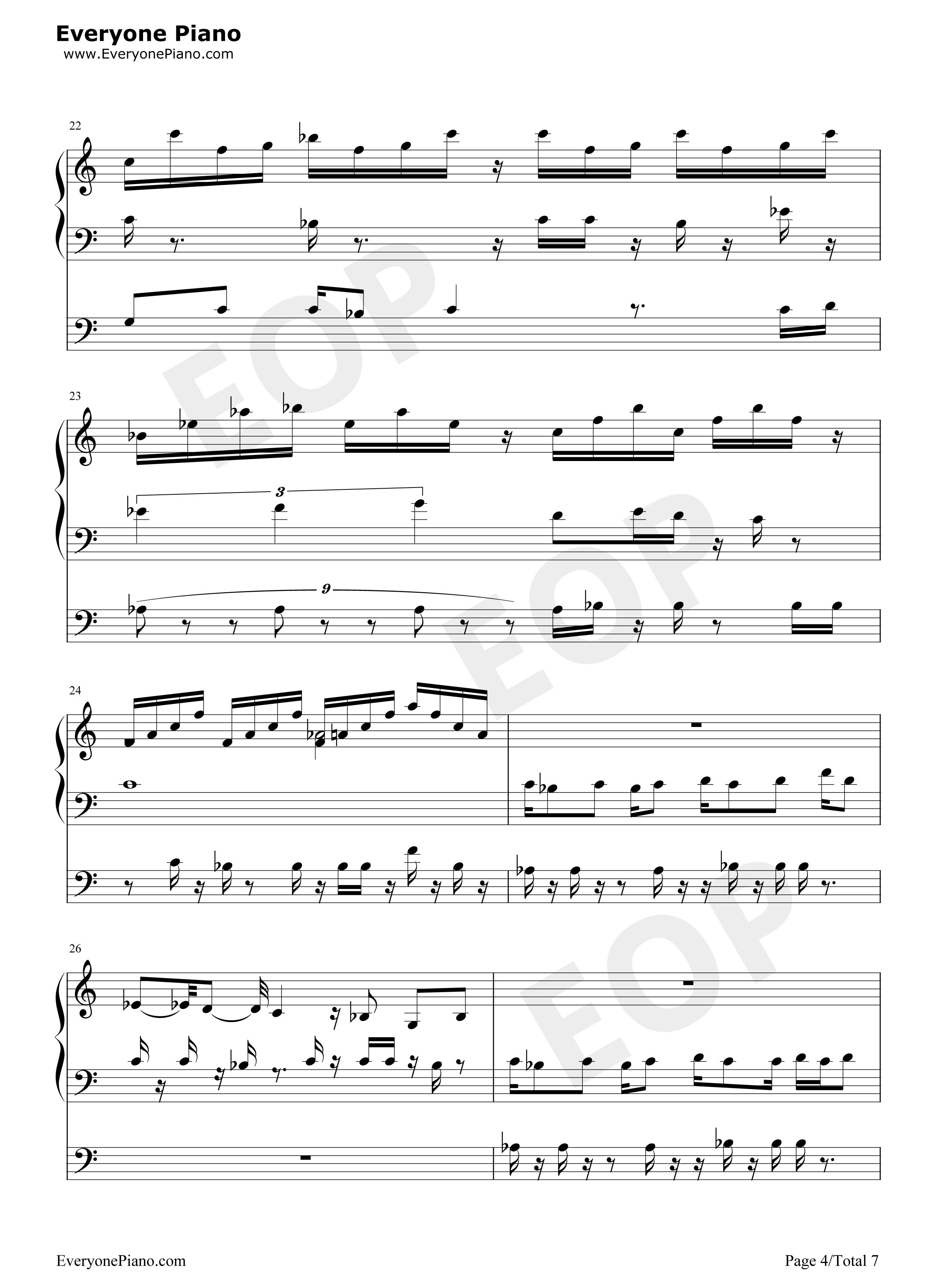钢琴曲谱 动漫 植物大战僵尸-boss关卡bgm