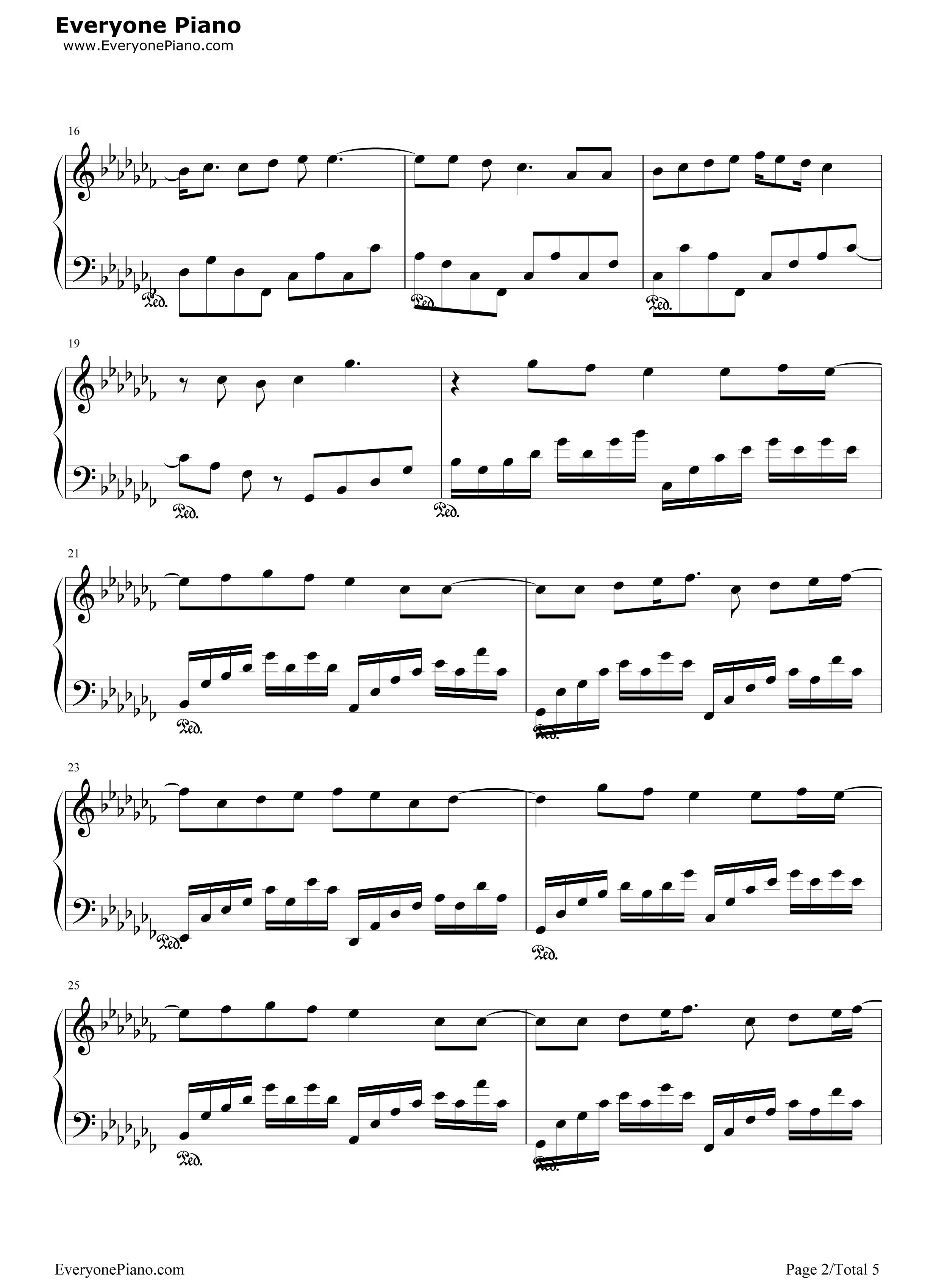 仰望星空-张杰五线谱预览2-钢琴谱