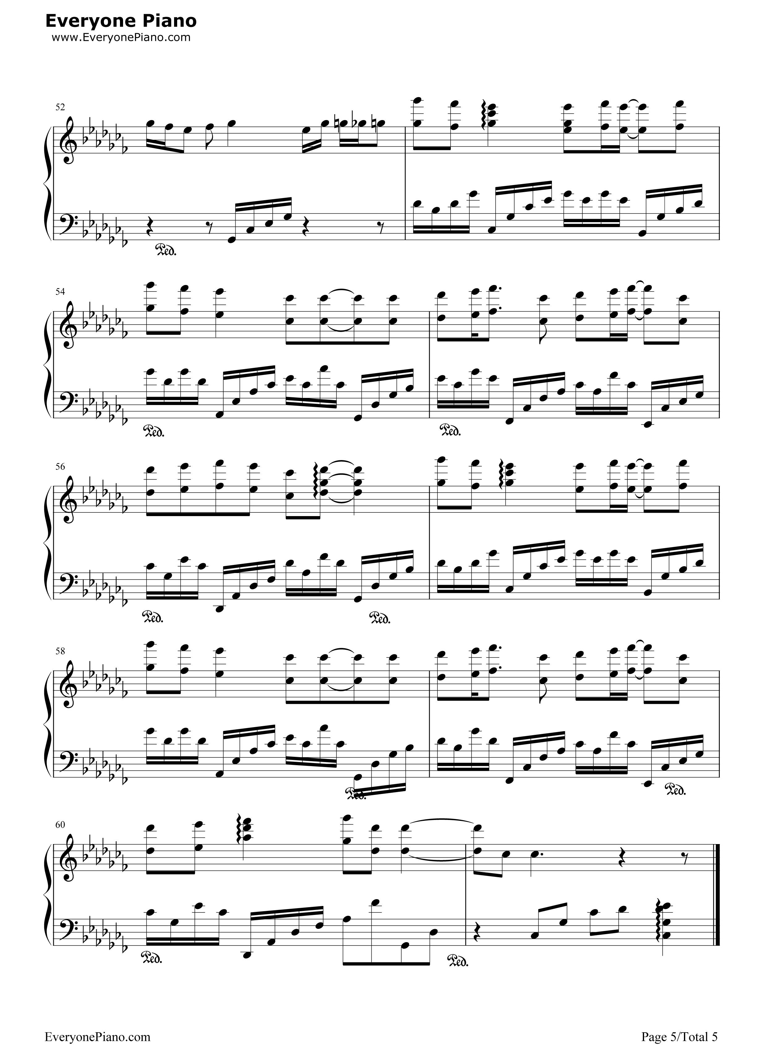 仰望星空-张杰五线谱预览5-钢琴谱