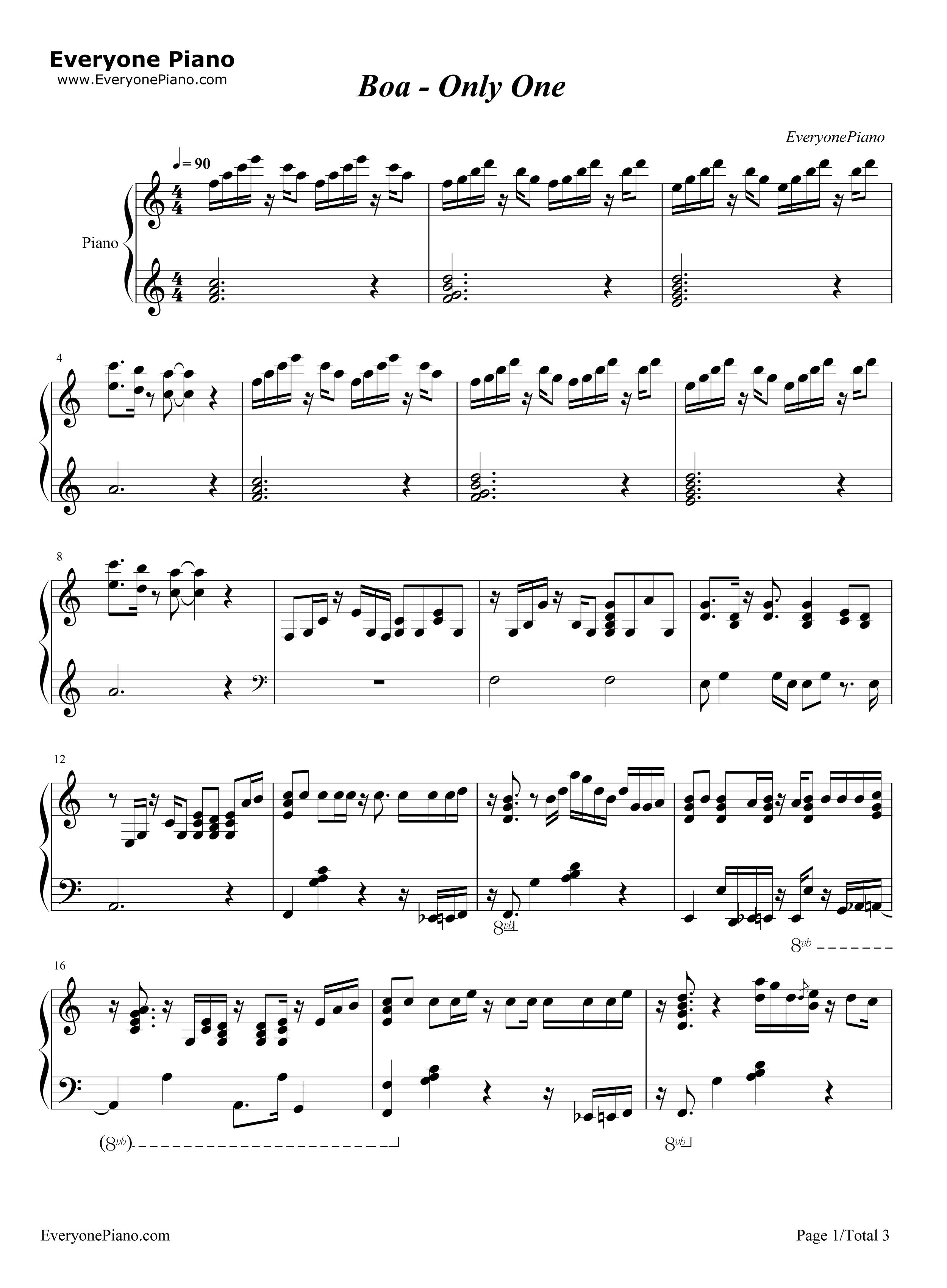 only one - boa五线谱预览1-钢琴谱