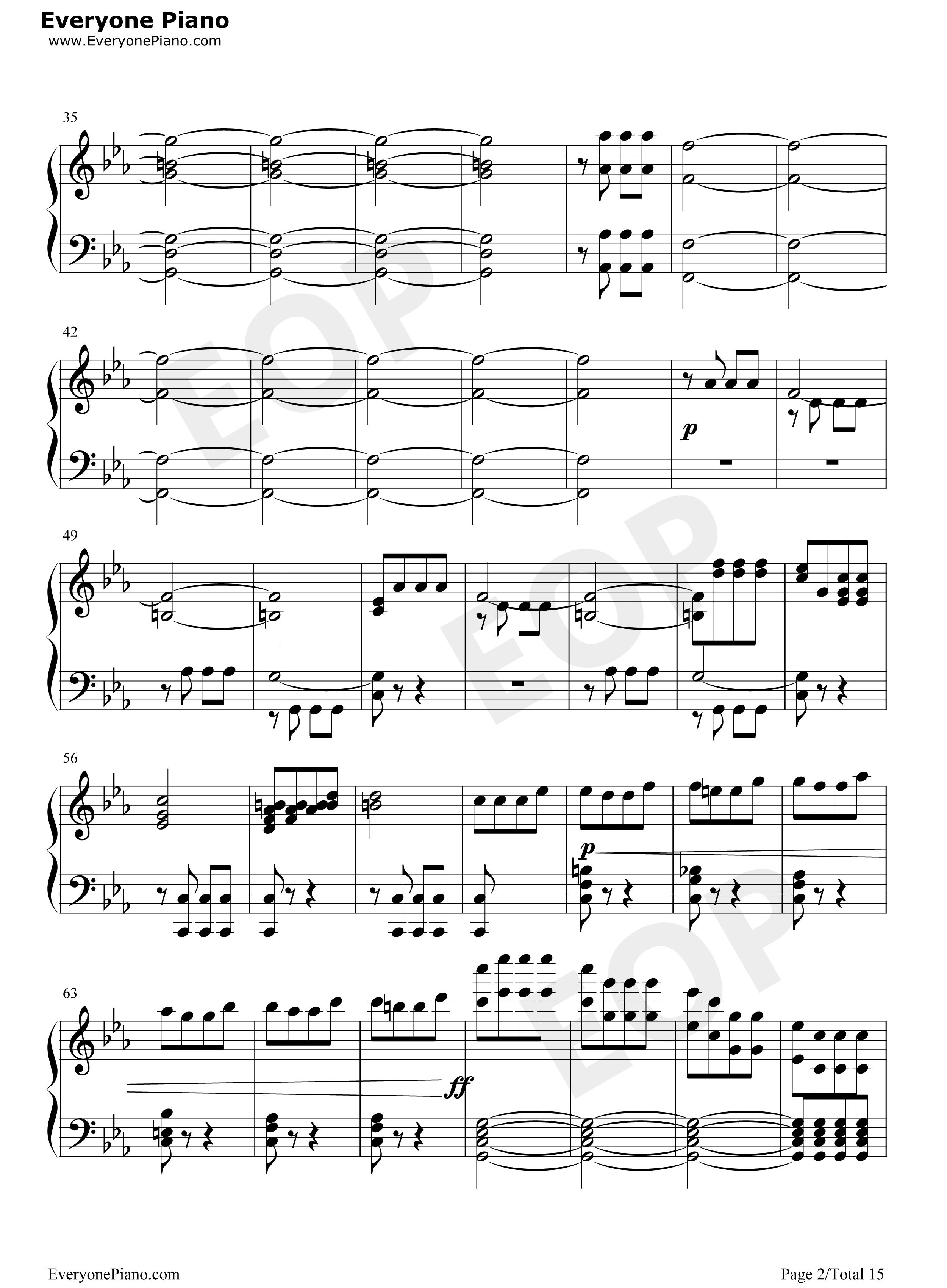 钢琴曲谱 经典 命运交响曲第一乐章 命运交响曲第一乐章五线谱预览2