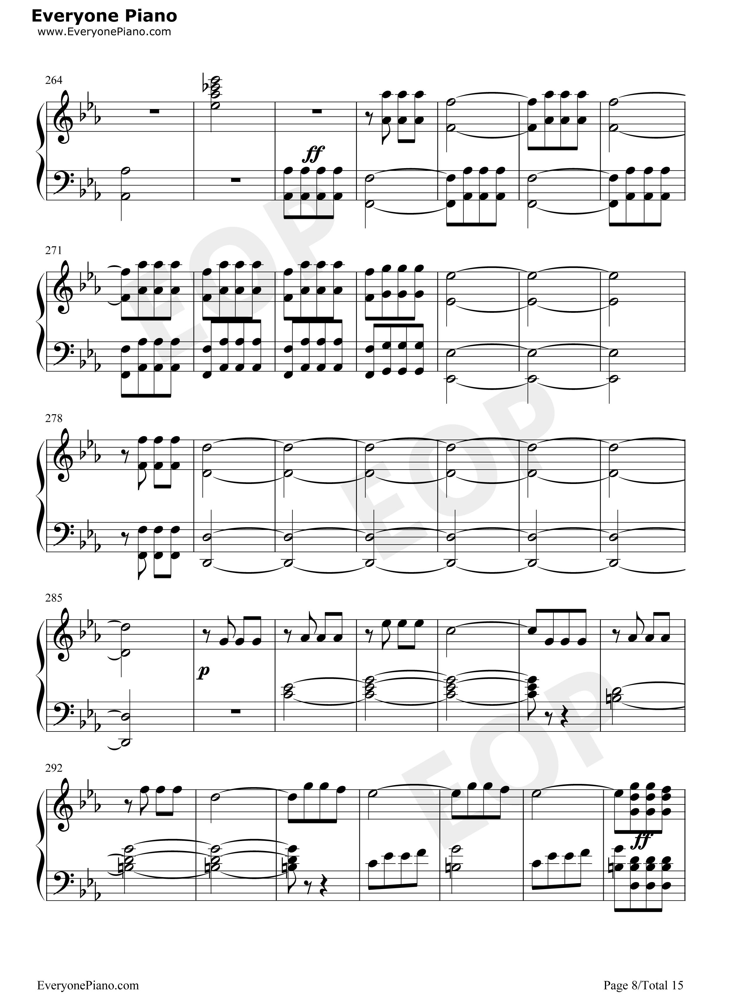 钢琴曲谱 经典 命运交响曲第一乐章 命运交响曲第一乐章五线谱预览8