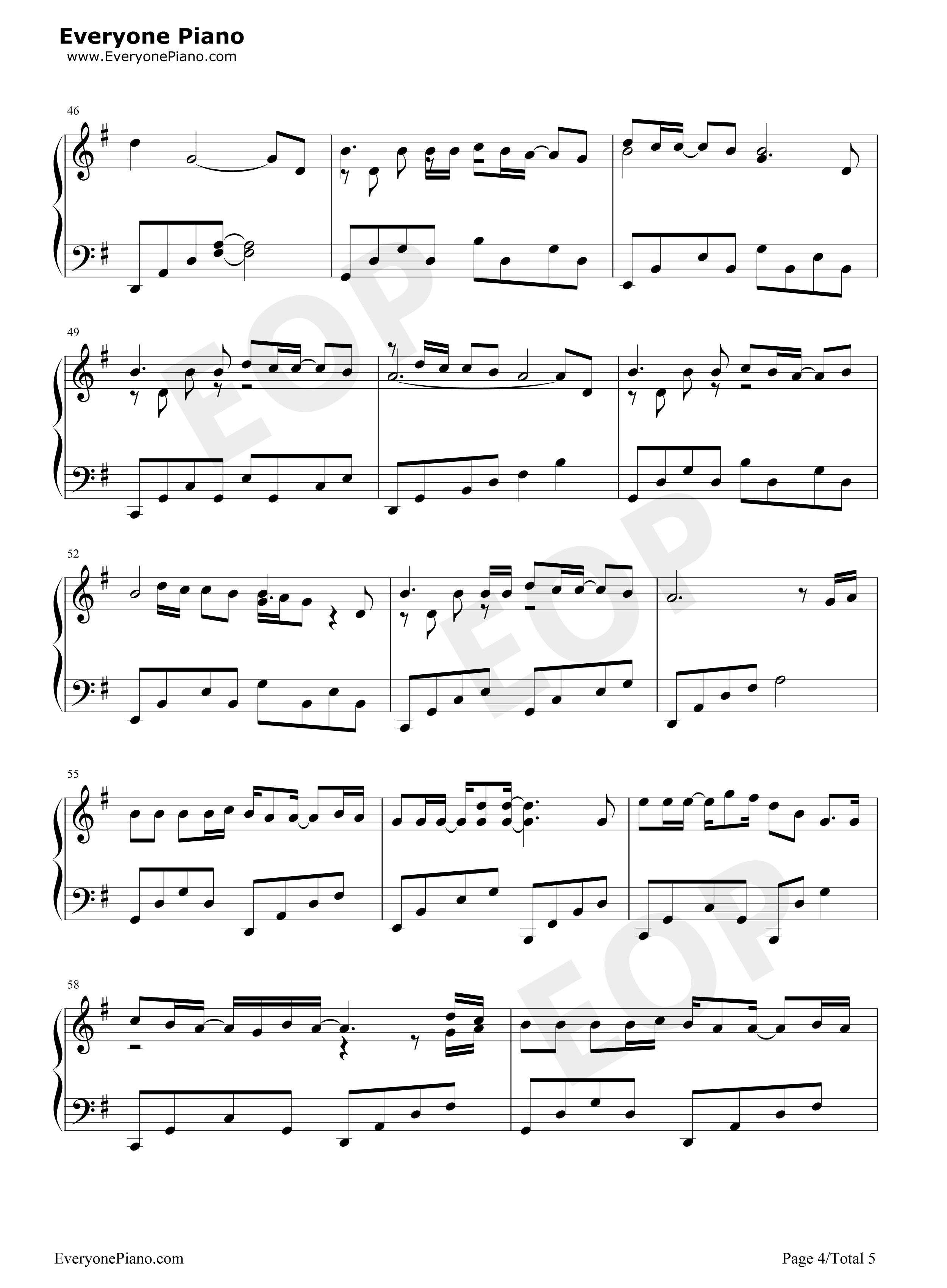 放弃-星弟五线谱预览4-钢琴谱档(五线谱,双手简谱,数