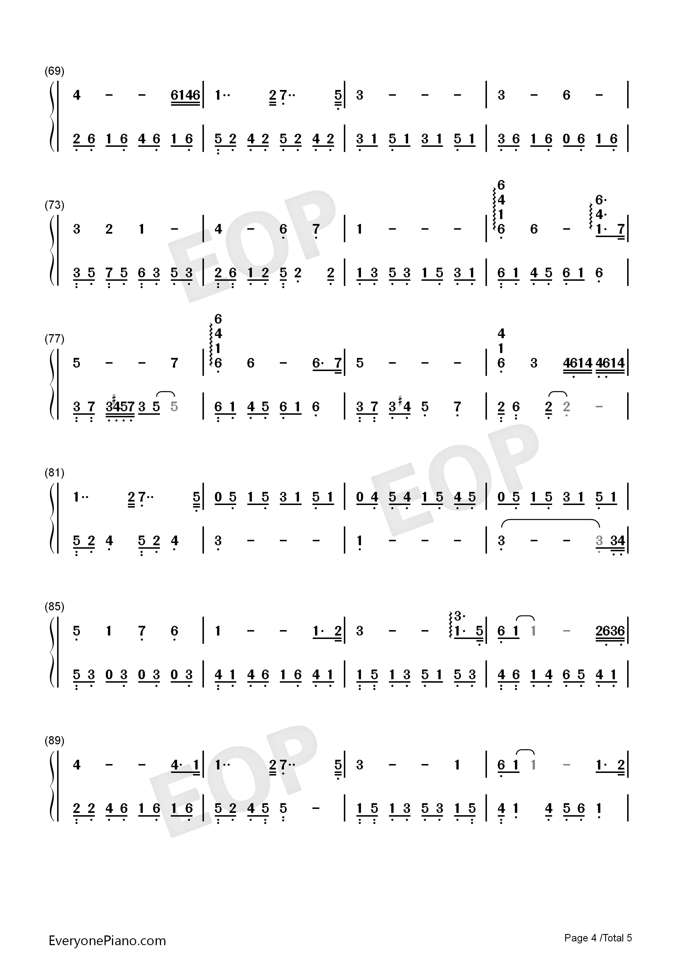 白日梦-the daydream-eop教学曲双手简谱预览4