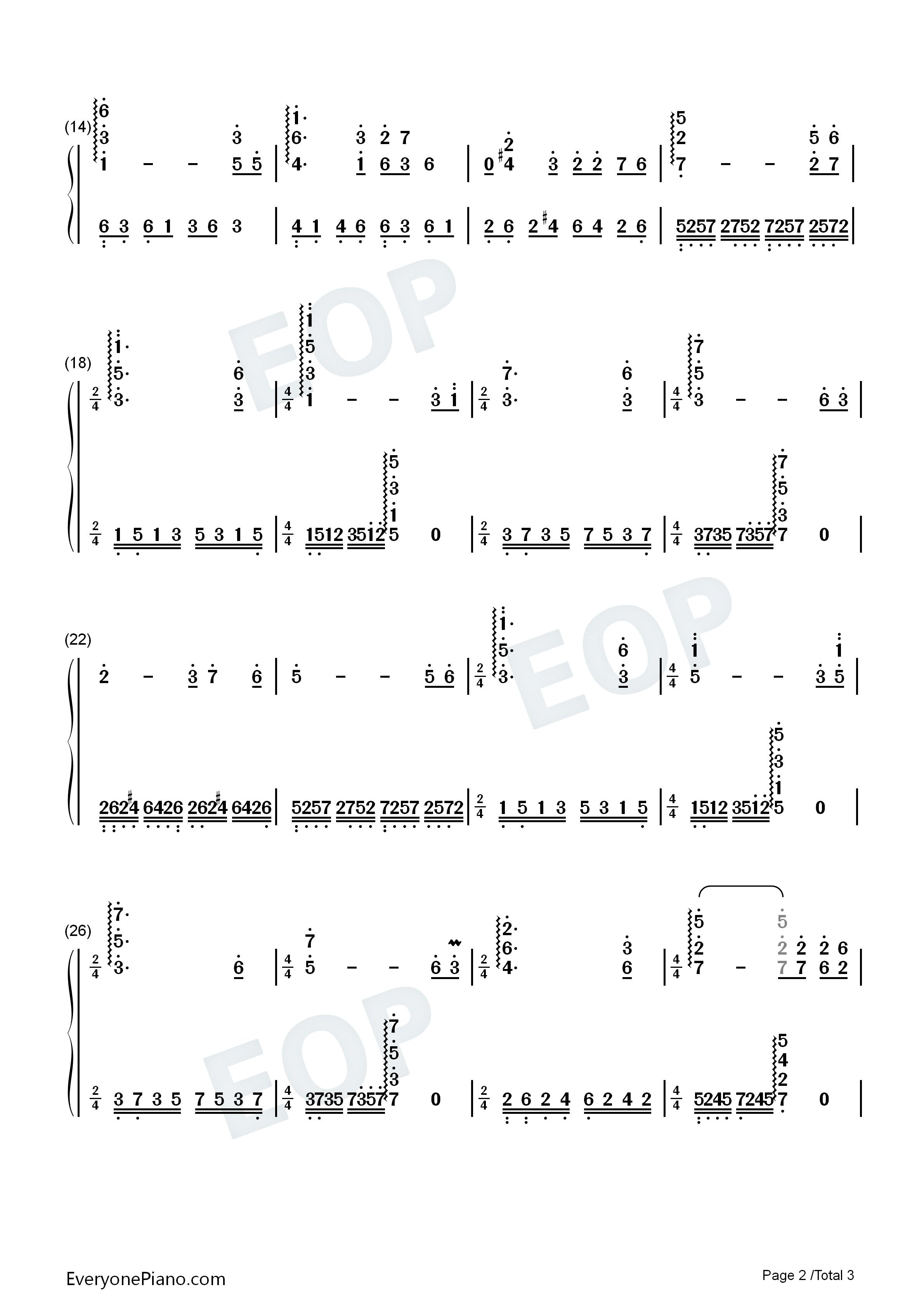 《牧羊曲》-《少林寺》插曲双手简谱预览2