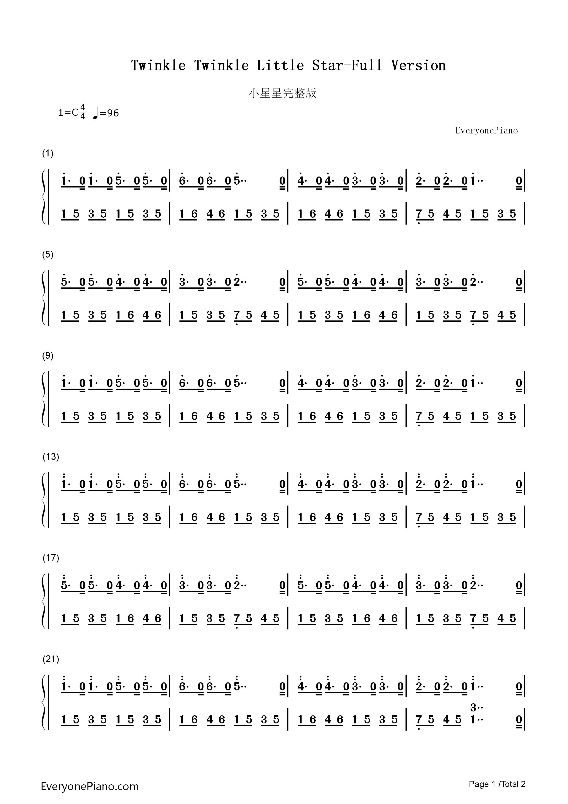 小星星完整版双手简谱预览1