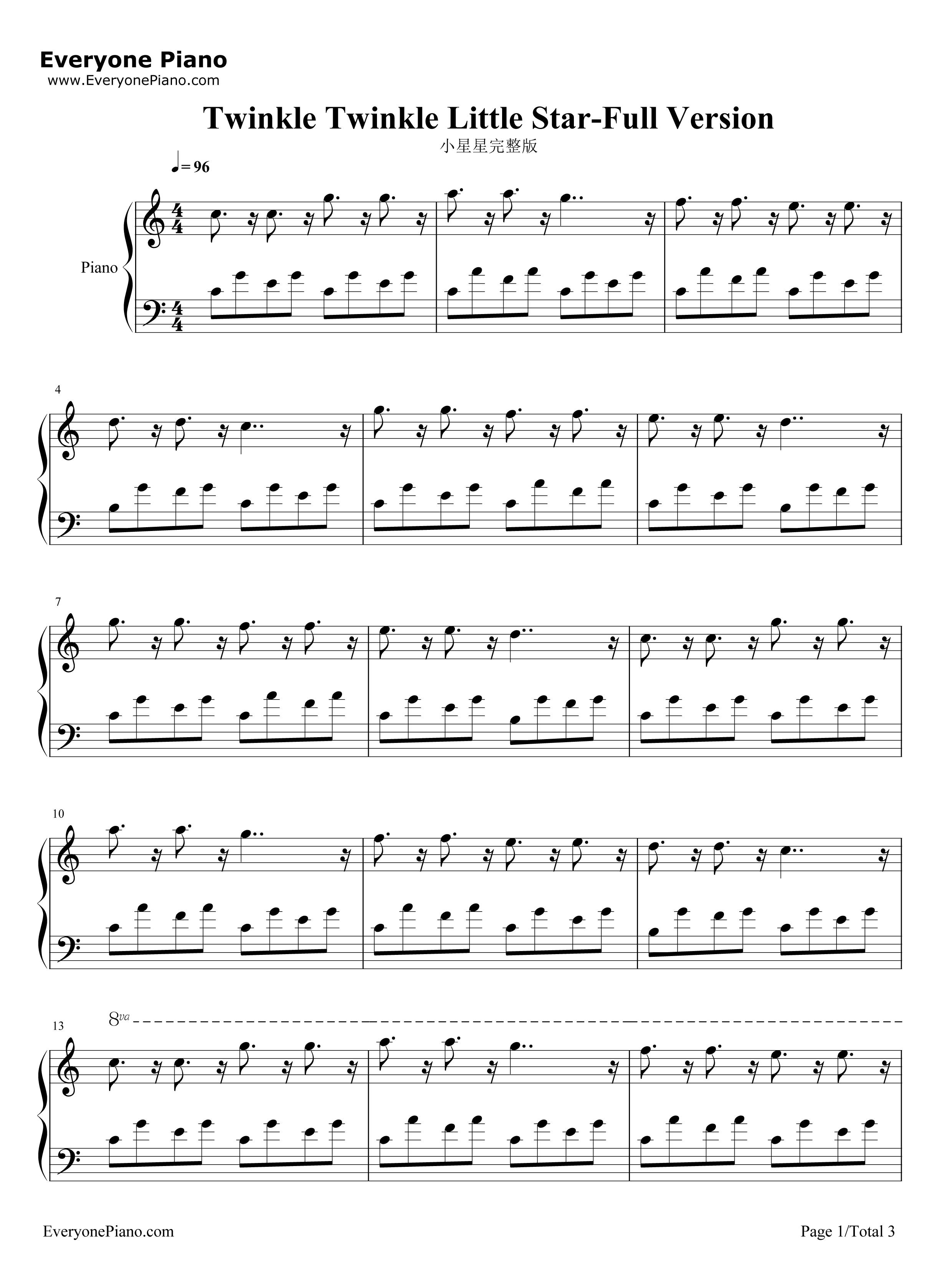 小星星完整版五线谱预览1-钢琴谱(五线谱,双手简谱)