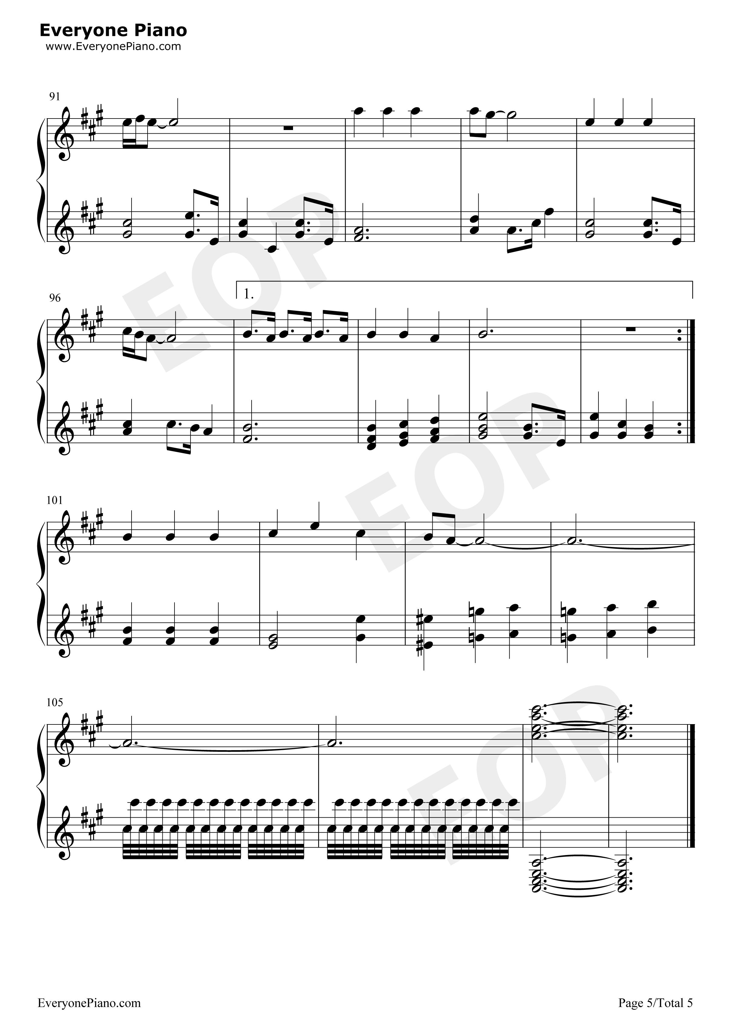 钢琴曲谱 流行 真心英雄 真心英雄五线谱预览5  }  仅供学习交流使用!