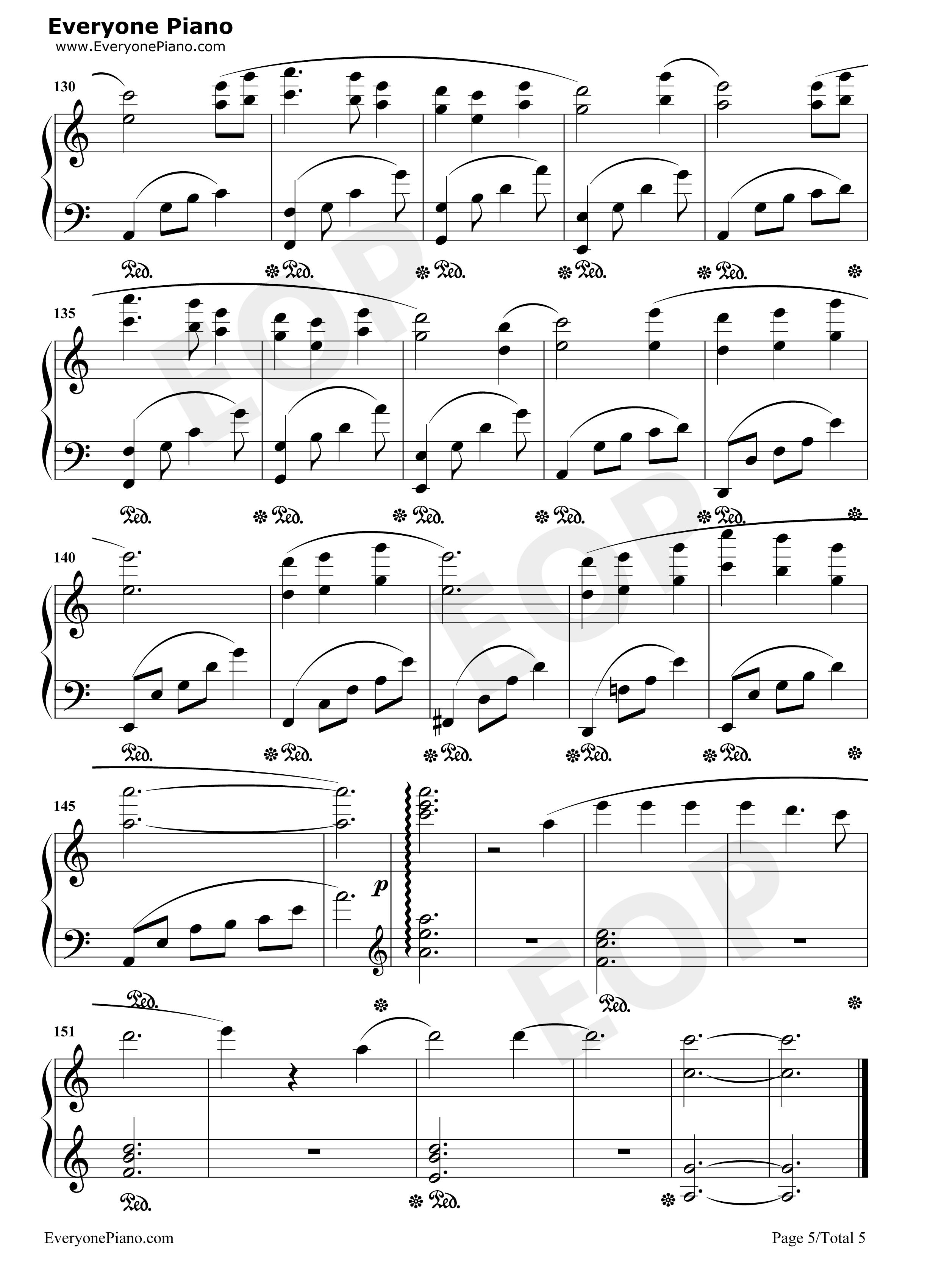 锦鲤抄钢琴版五线谱预览