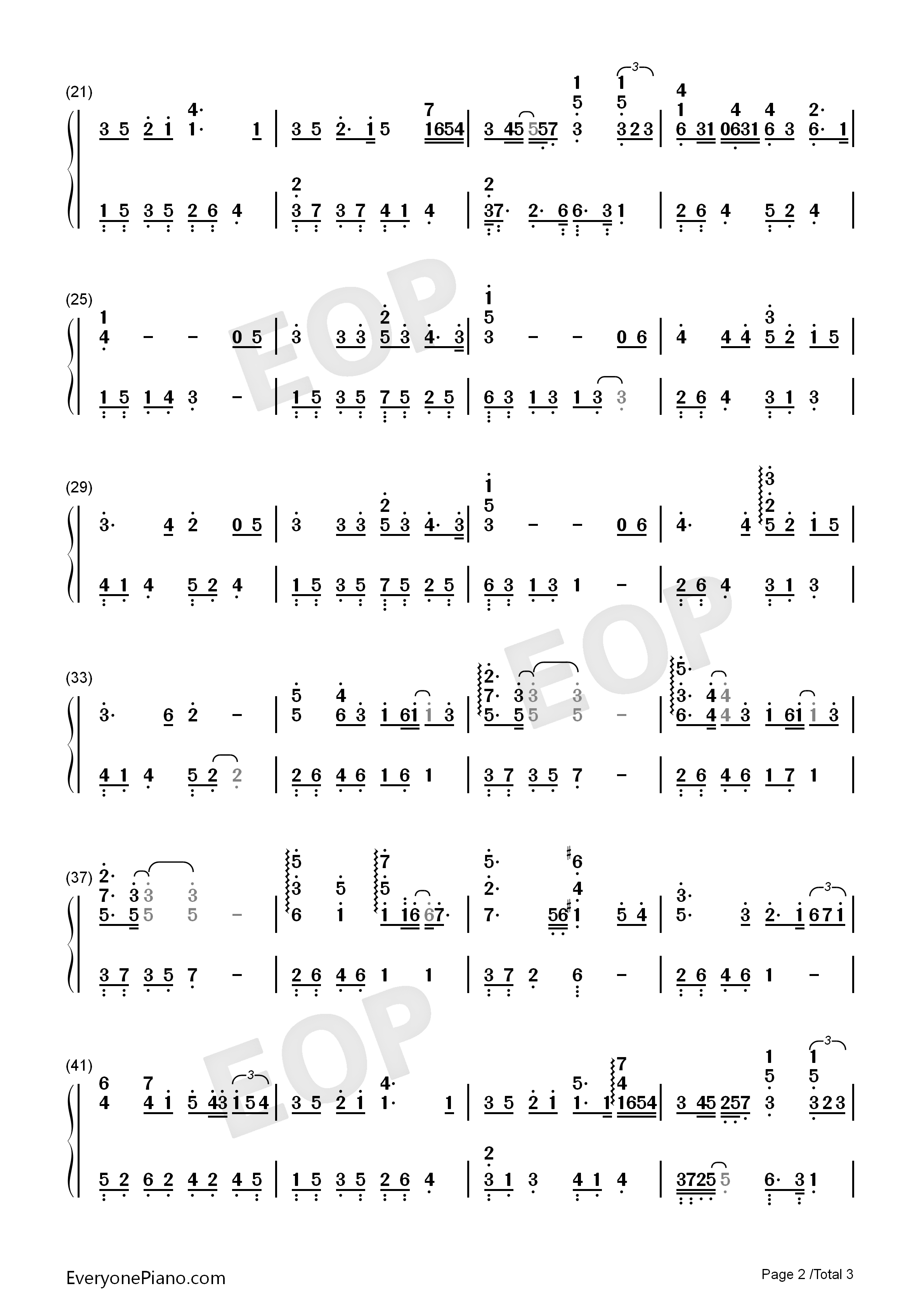李闰珉-eop教学曲双手简谱预览2-钢琴谱(