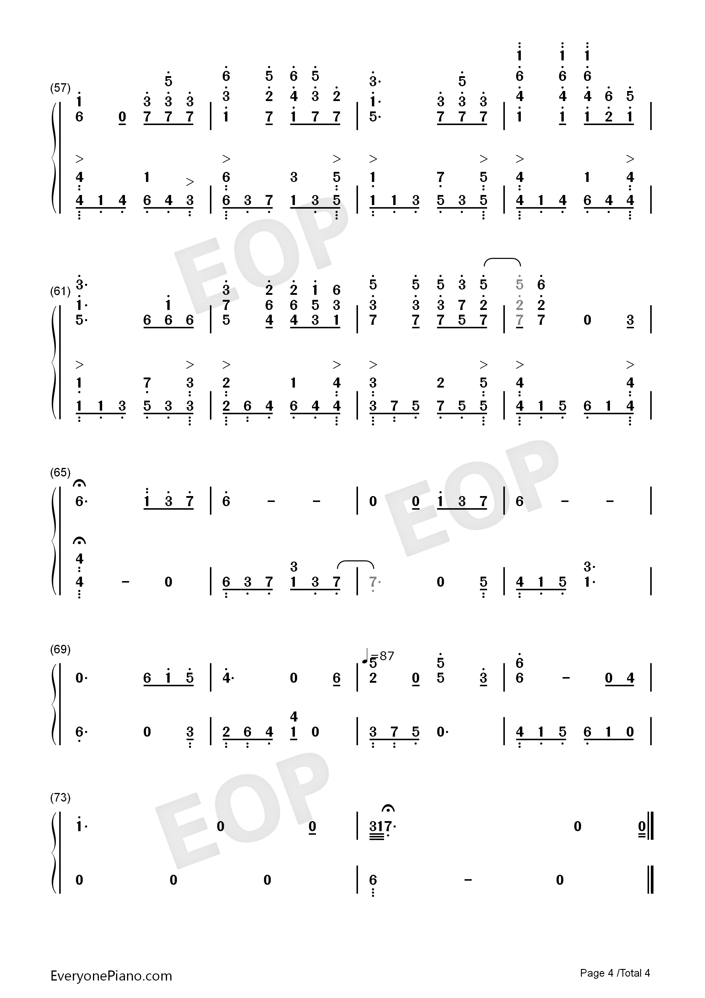 雨蝶钢琴数字简谱