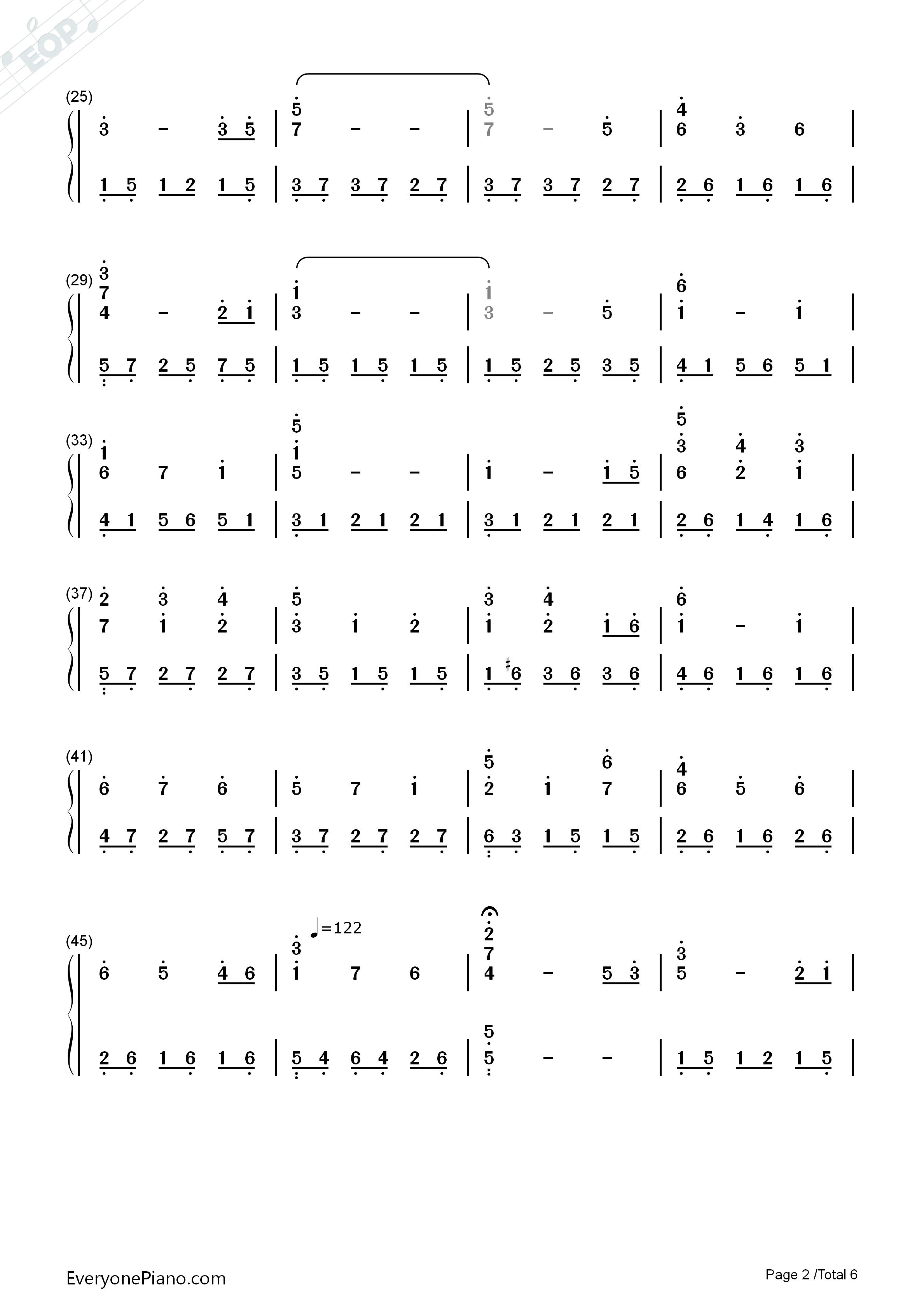 钢琴曲谱 动漫 世界的约定-《哈尔的移动城堡》主题曲 世界的约定