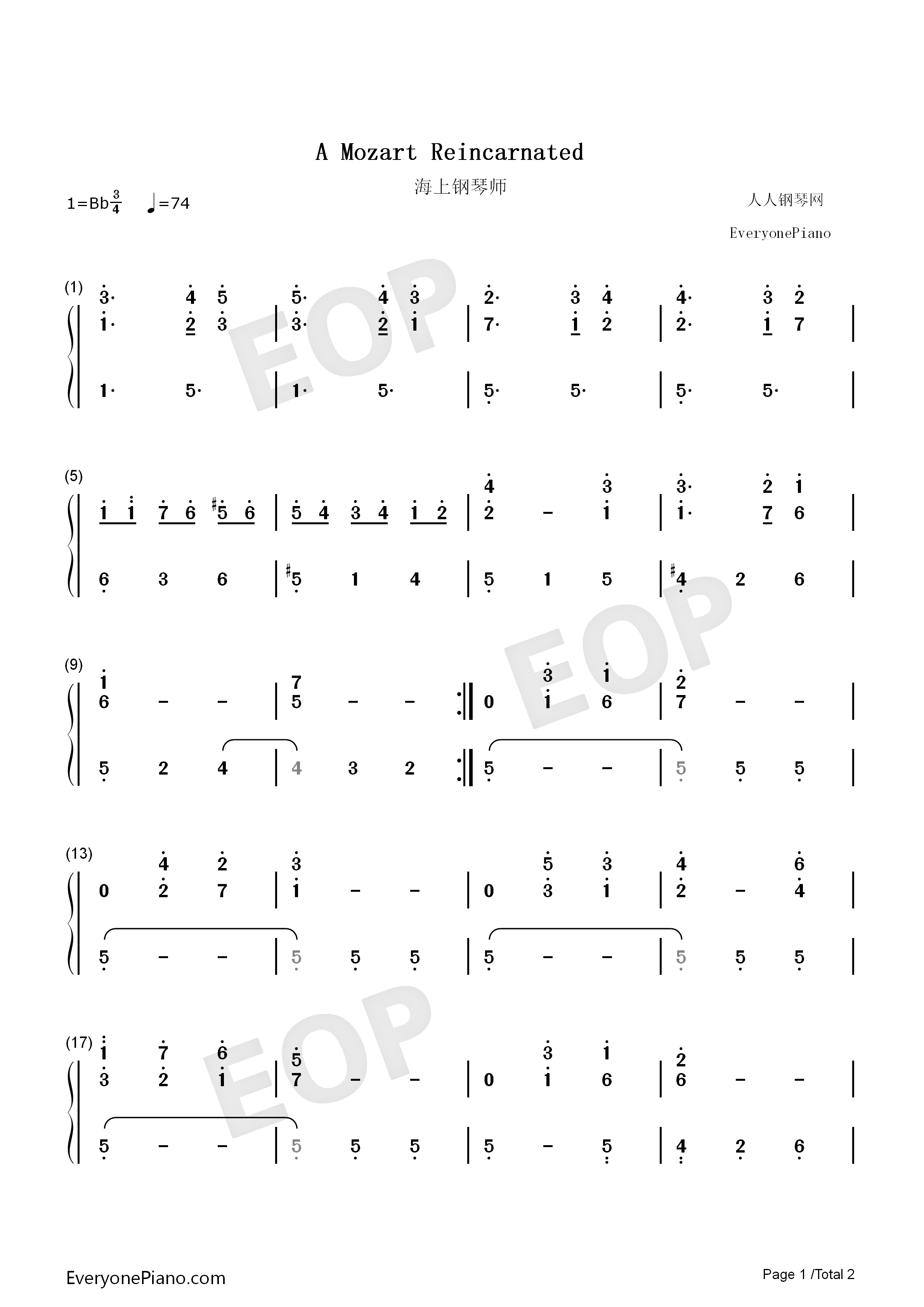 a mozart reincarnated-《海上钢琴师》插曲-eop教学曲双手简谱预览1