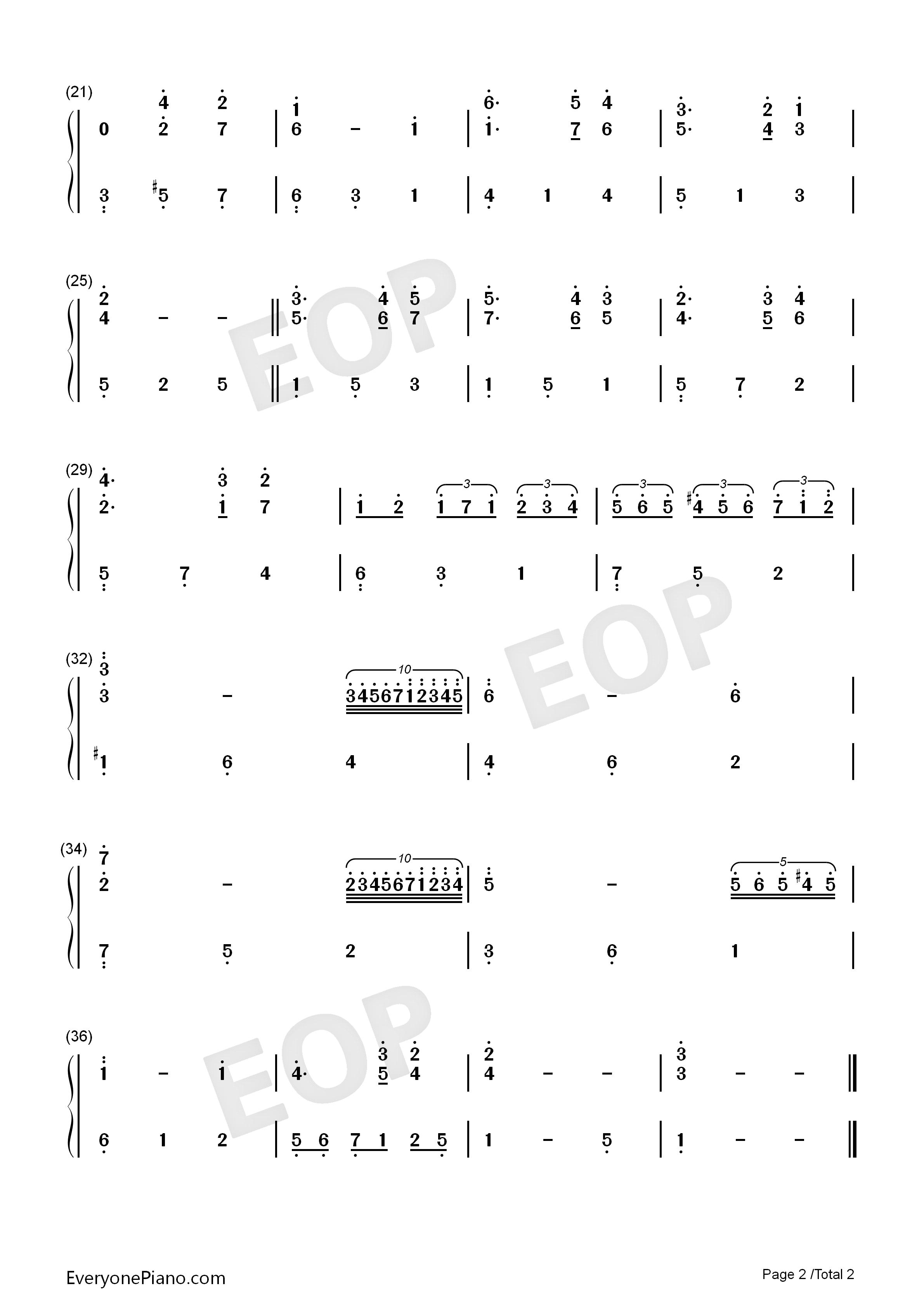 a mozart reincarnated-《海上钢琴师》插曲-eop教学曲双手简谱预览2