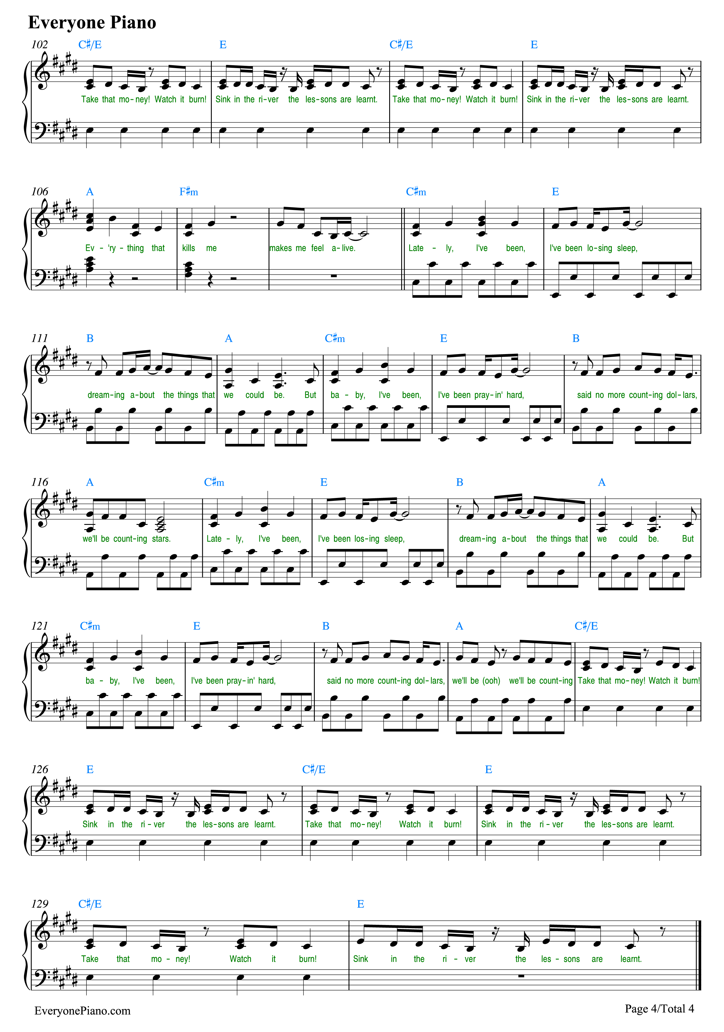dearnoone谱子-Counting Stars-OneRepublic五线谱预览   ( 共4张 )   可使用右键另存