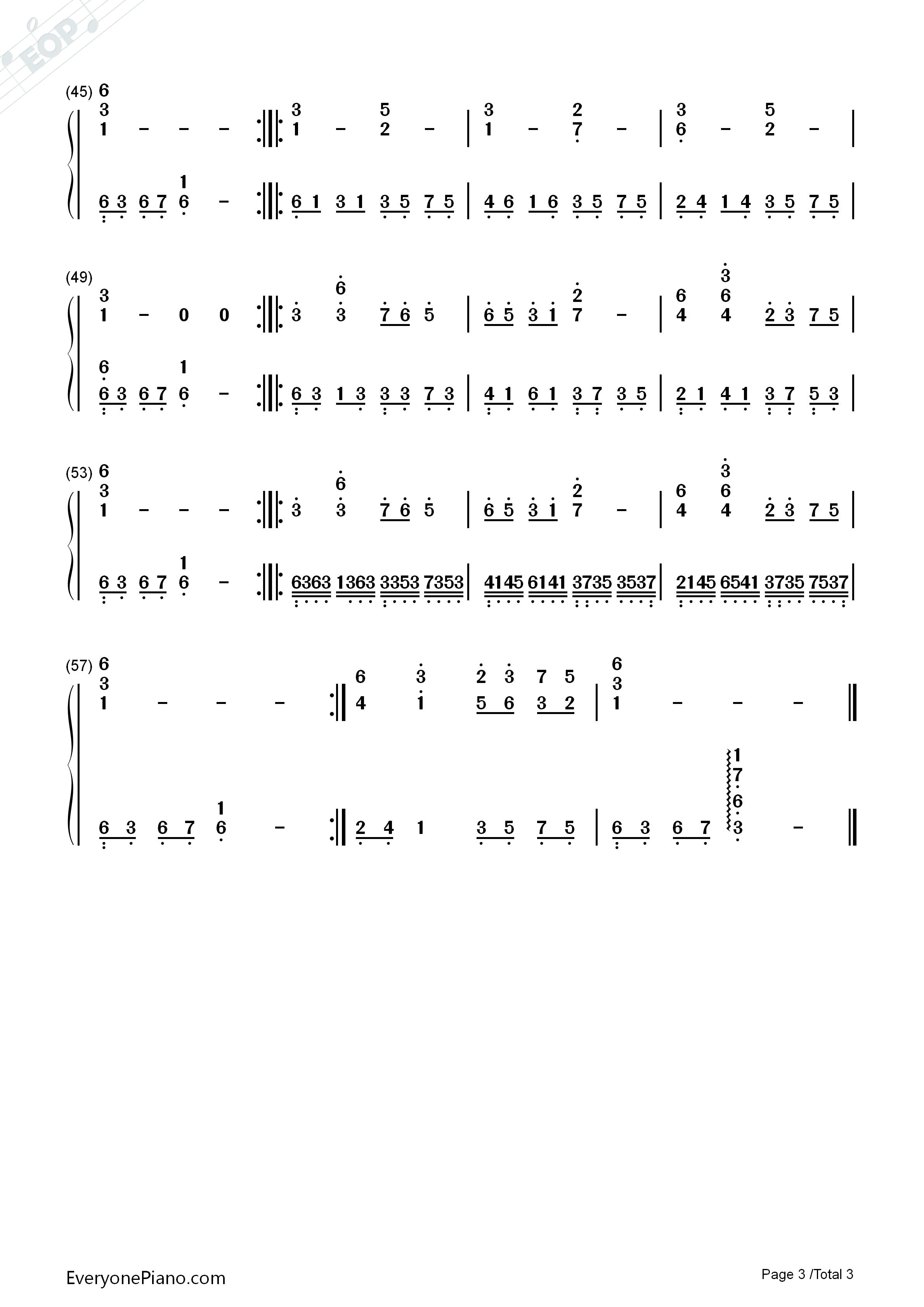 伤声歌�_伤声-eop教学曲双手简谱预览
