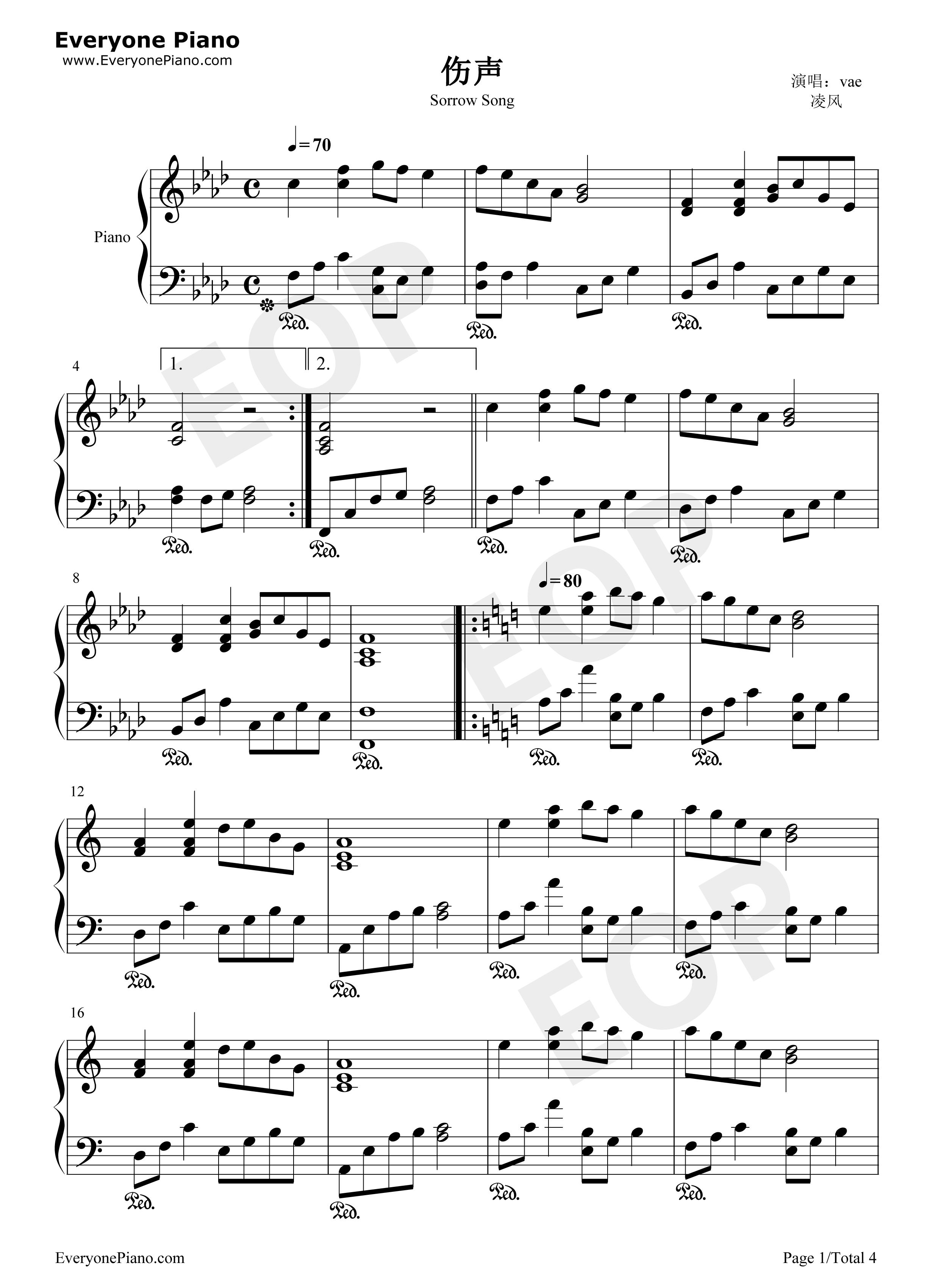 伤声歌�_伤声-eop教学曲五线谱预览