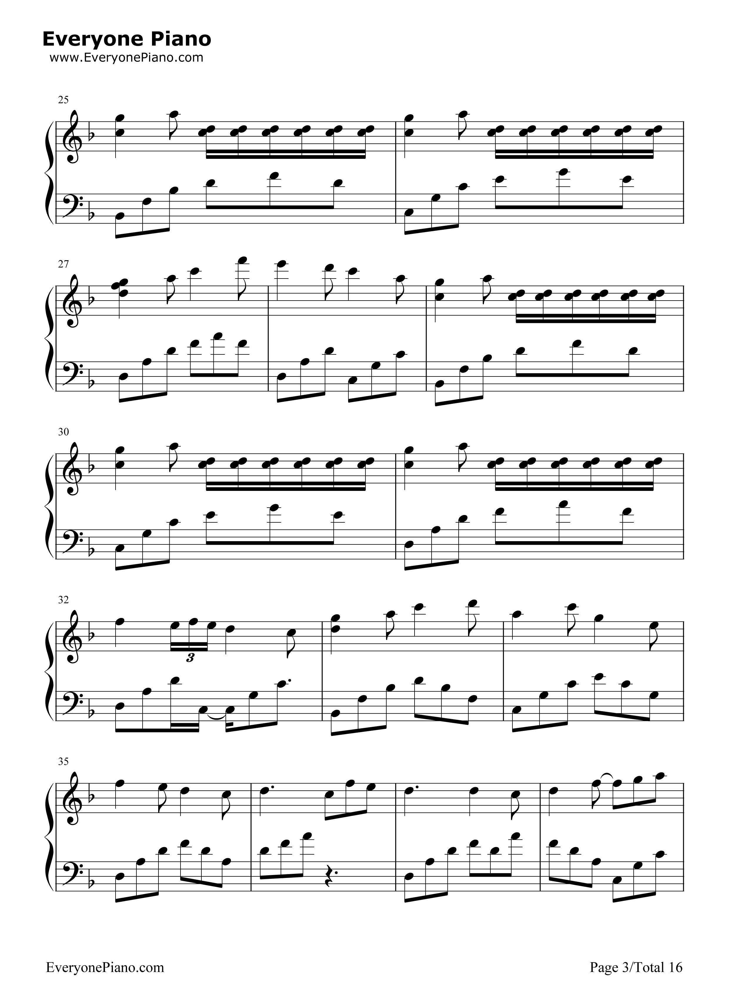 千本樱变奏曲五线谱预览3-钢琴谱档(五线谱,双手简谱