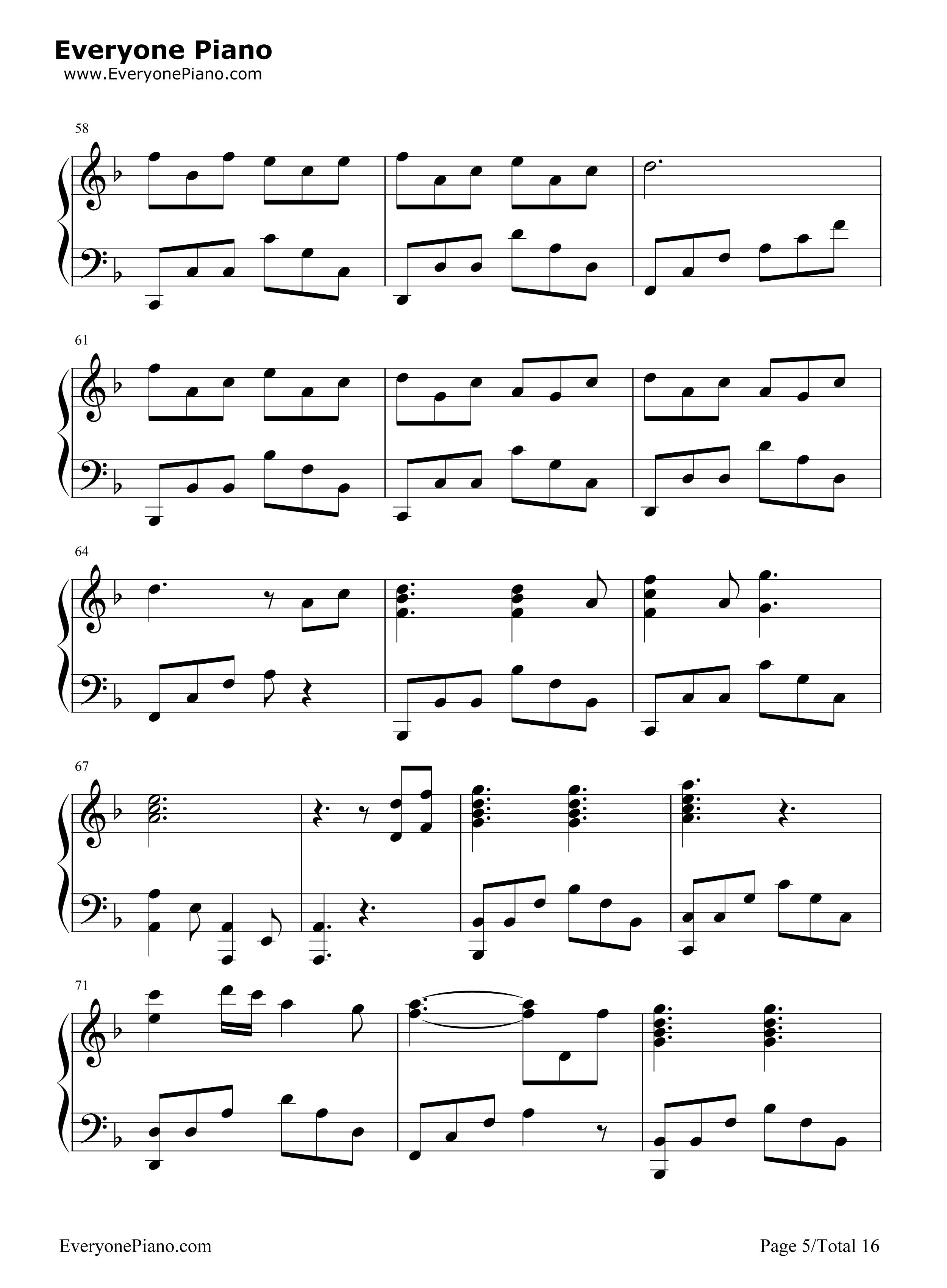 千本樱变奏曲五线谱预览5-钢琴谱档(五线谱,双手简谱