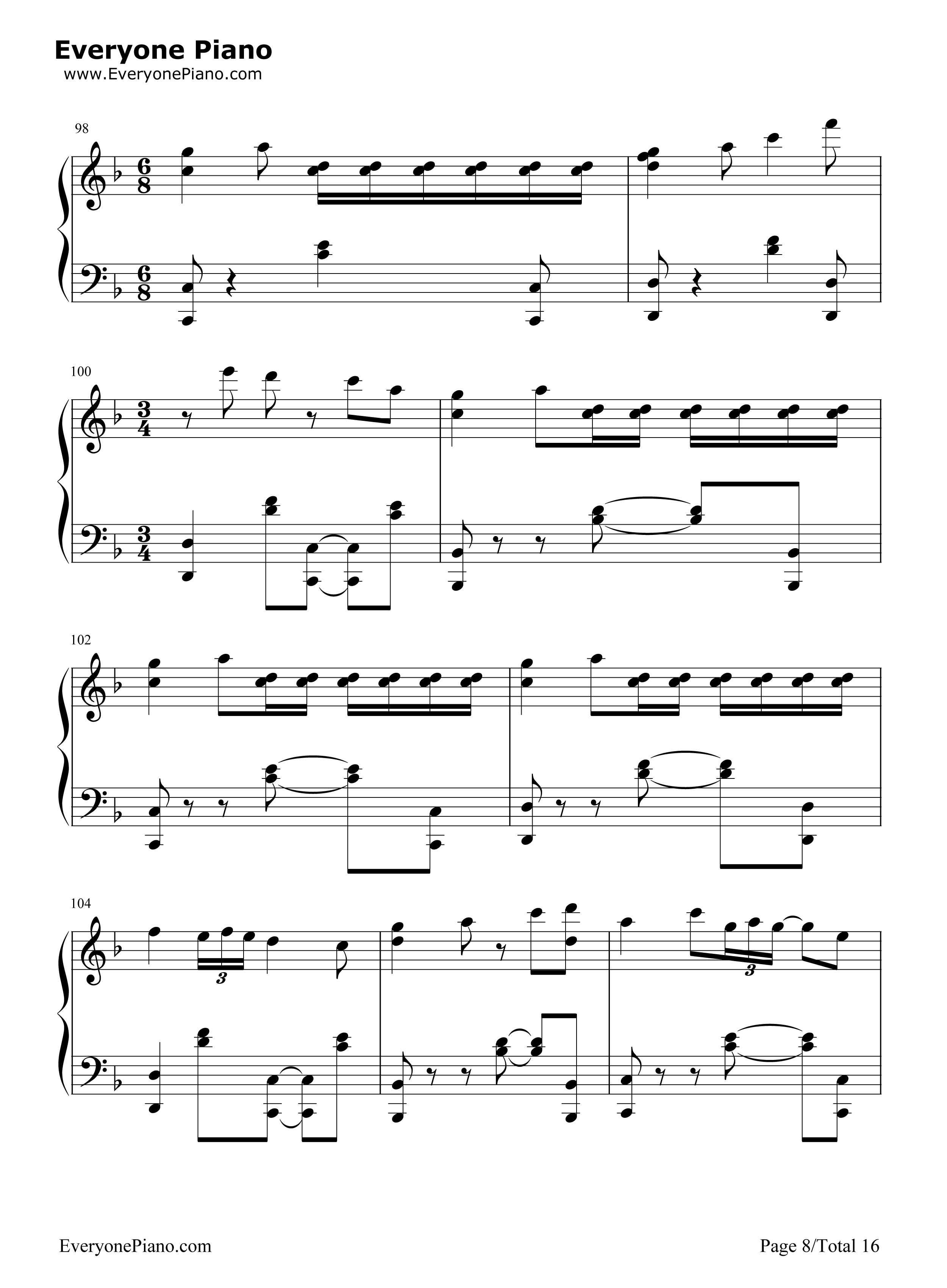 千本樱变奏曲五线谱预览8-钢琴谱档(五线谱,双手简谱