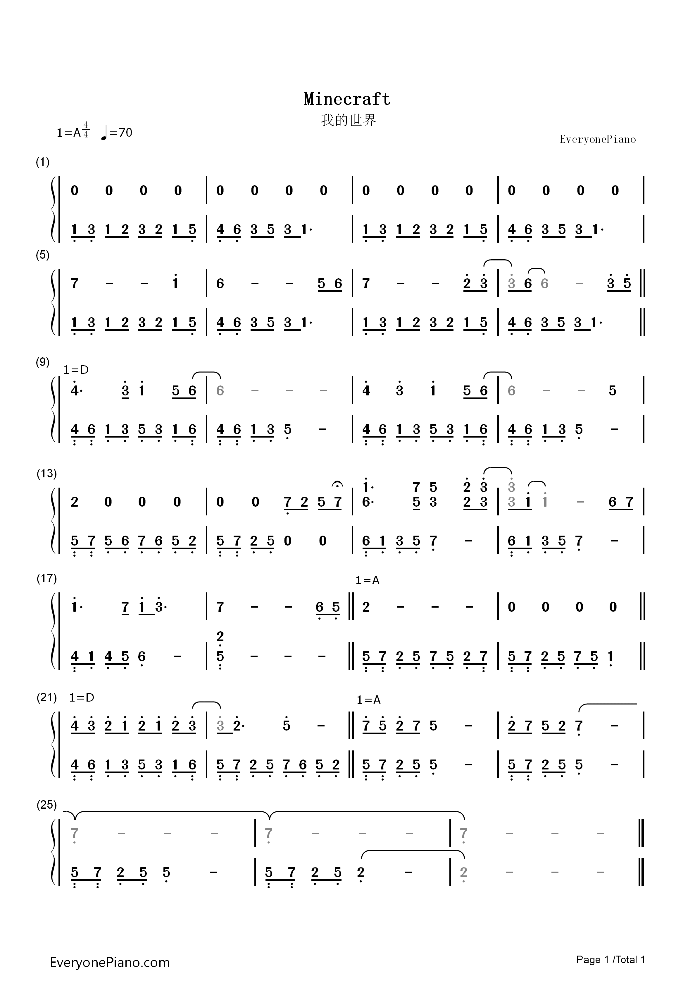 minecraft背景音乐双手简谱预览1