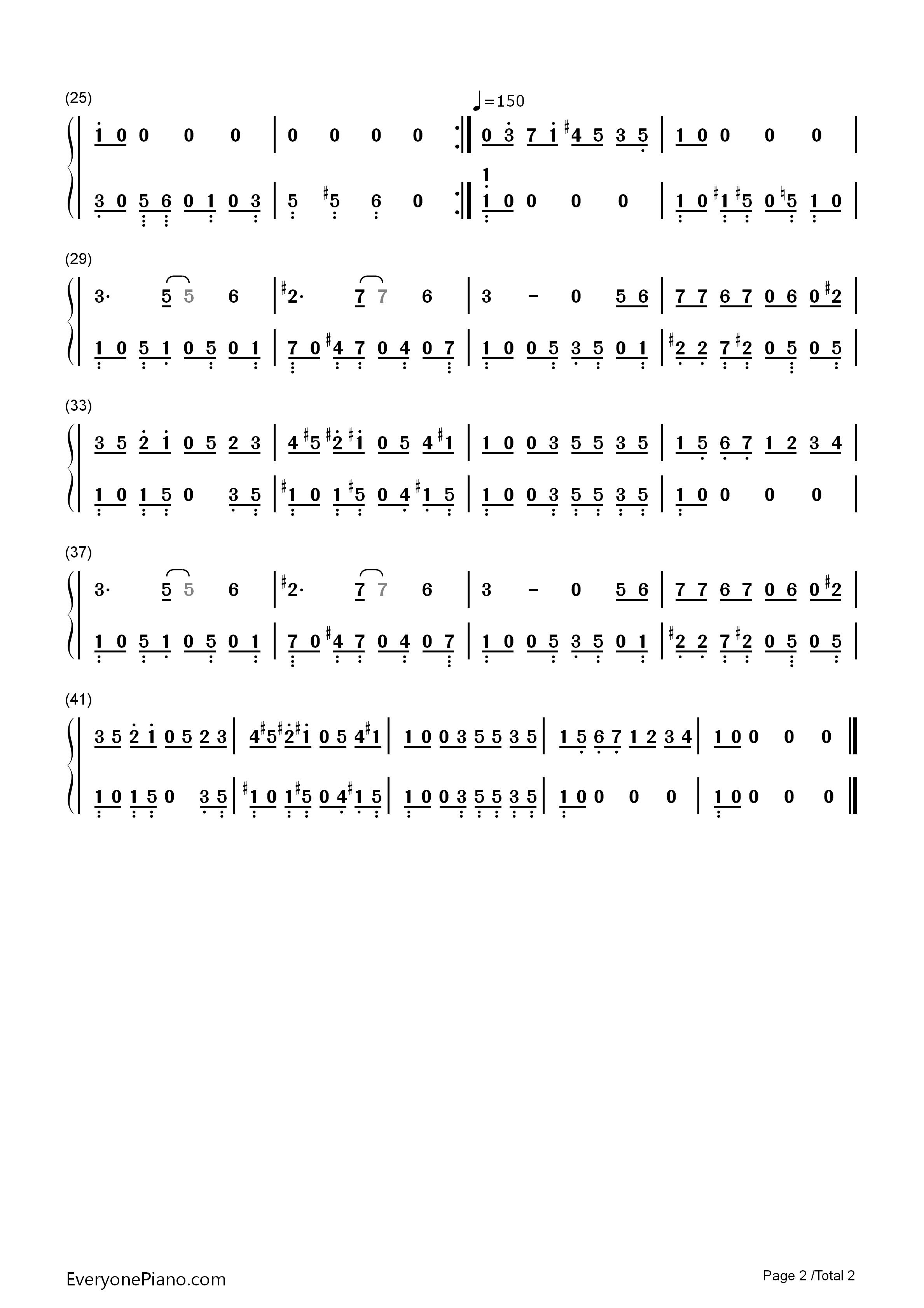 钢琴曲谱 动漫 冒险岛bgm-fc游戏《冒险岛》-eop教