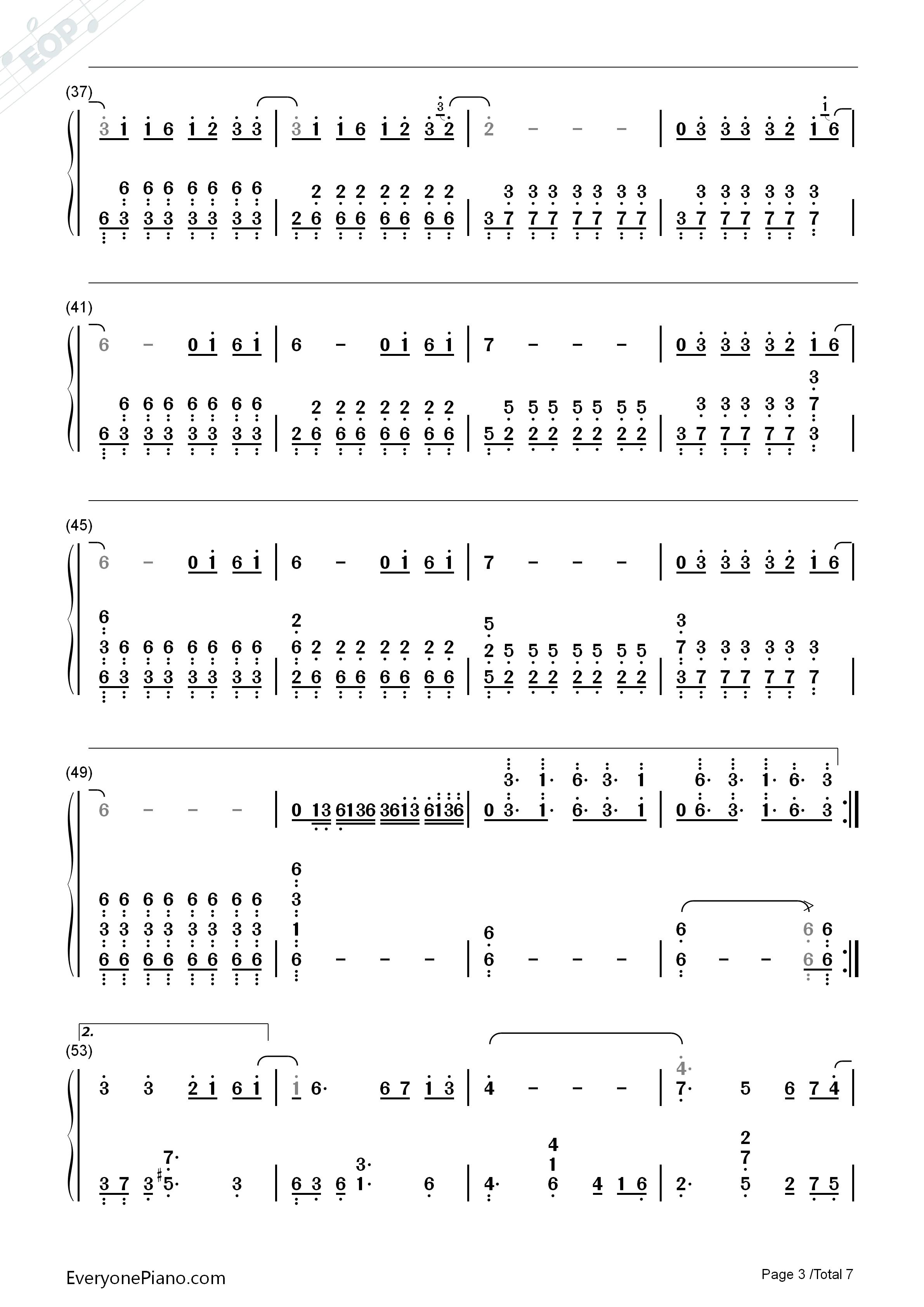 钢琴曲谱 流行 黑暗骑士-eop教学曲 黑暗骑士-eop教学曲双手简谱预览3