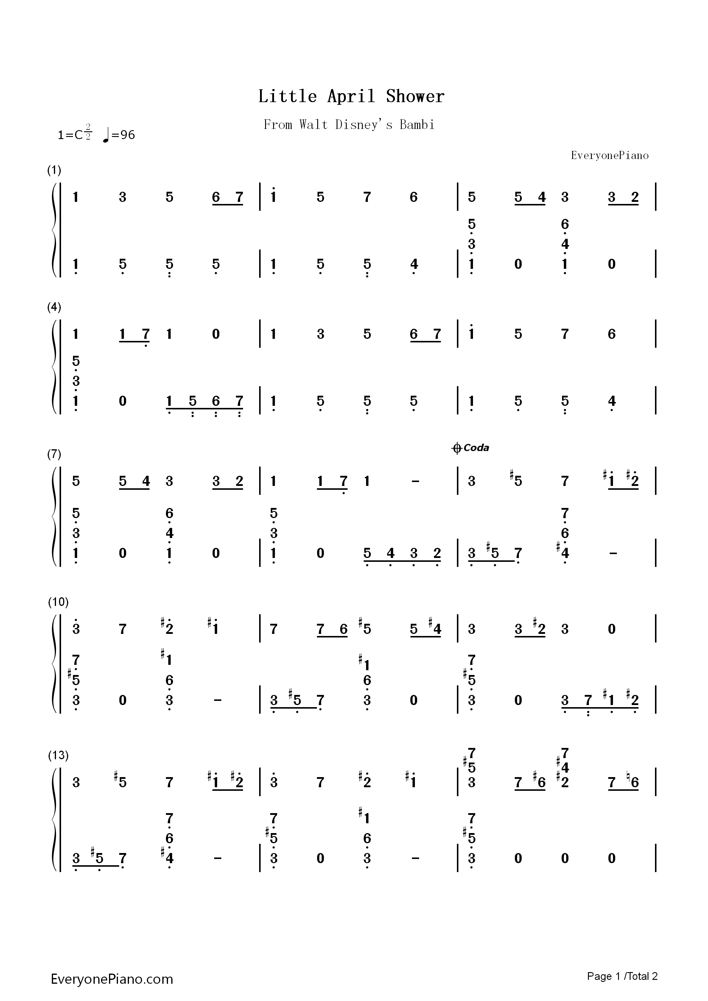 钢琴曲谱 动漫 little april shower-迪斯尼动画《小鹿斑比》插曲 lit