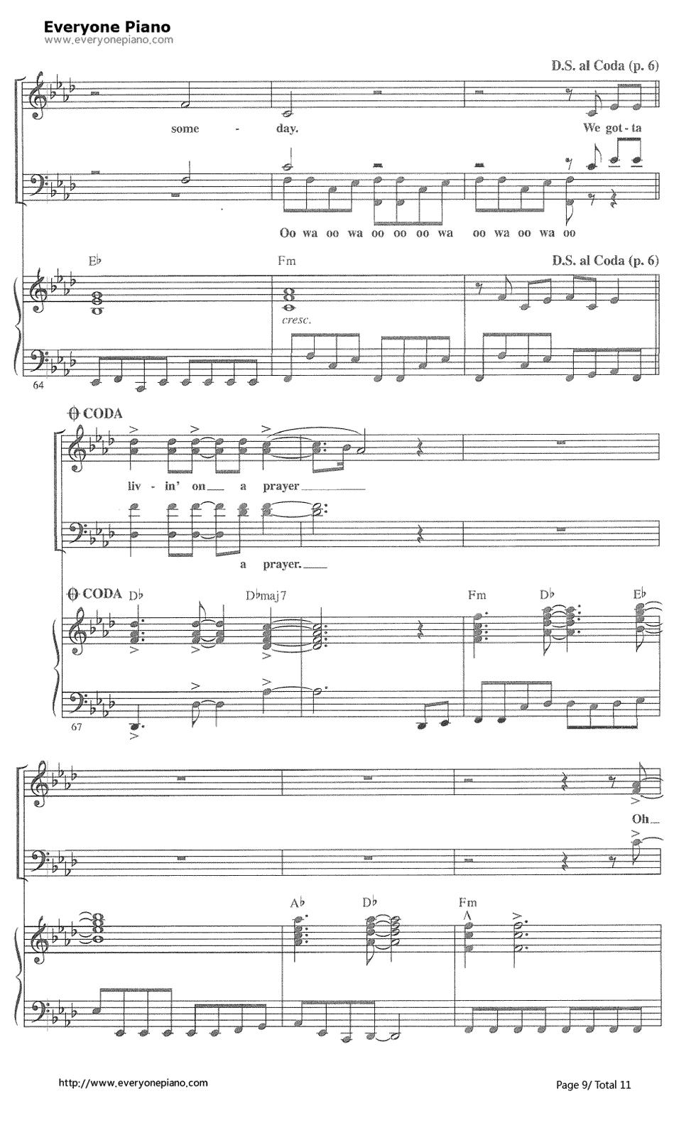 on Jovi五线谱预览9 钢琴谱档 五线谱 双手简谱 数位谱 Midi PDF 免费