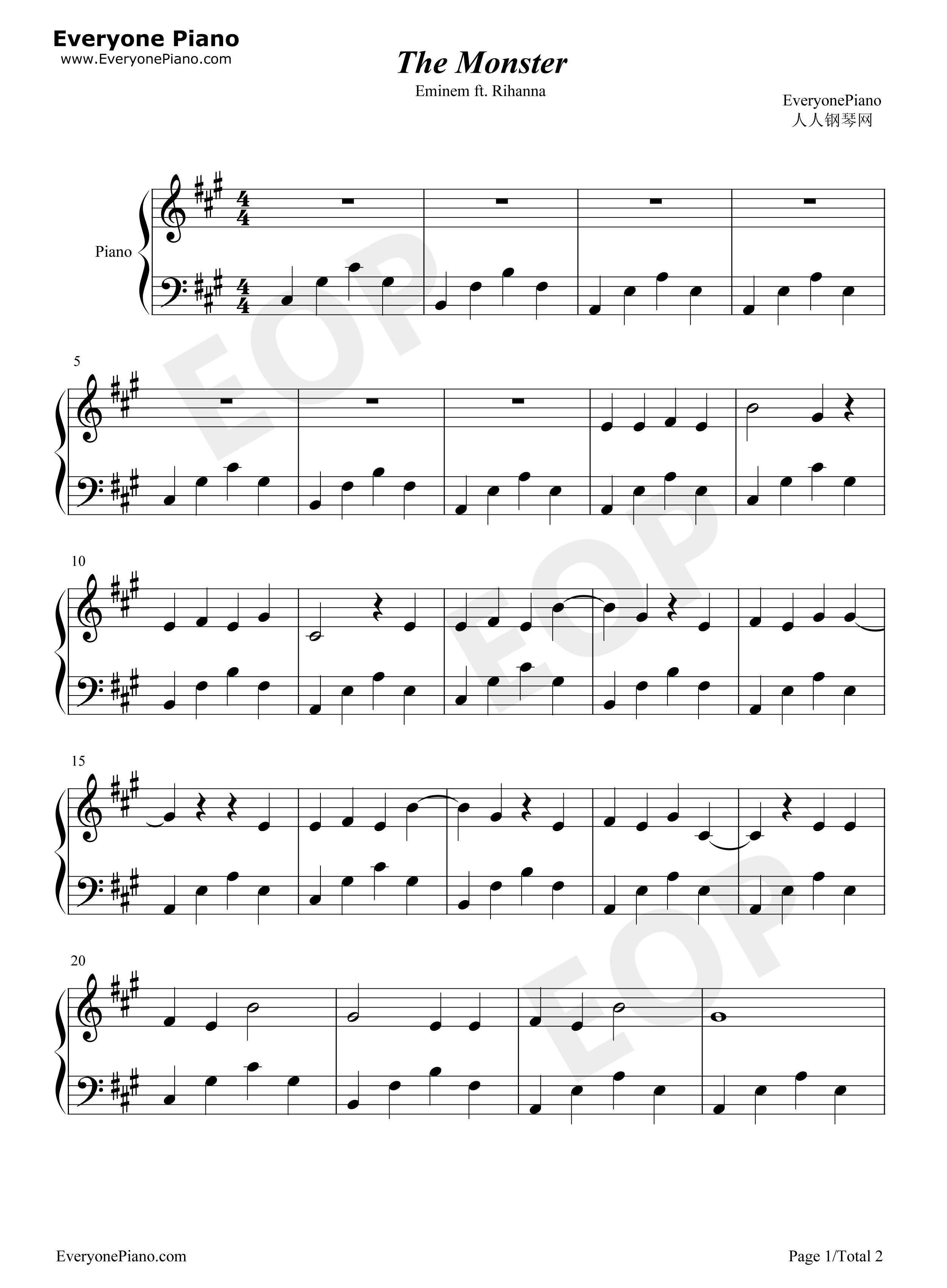 monster小提琴曲谱
