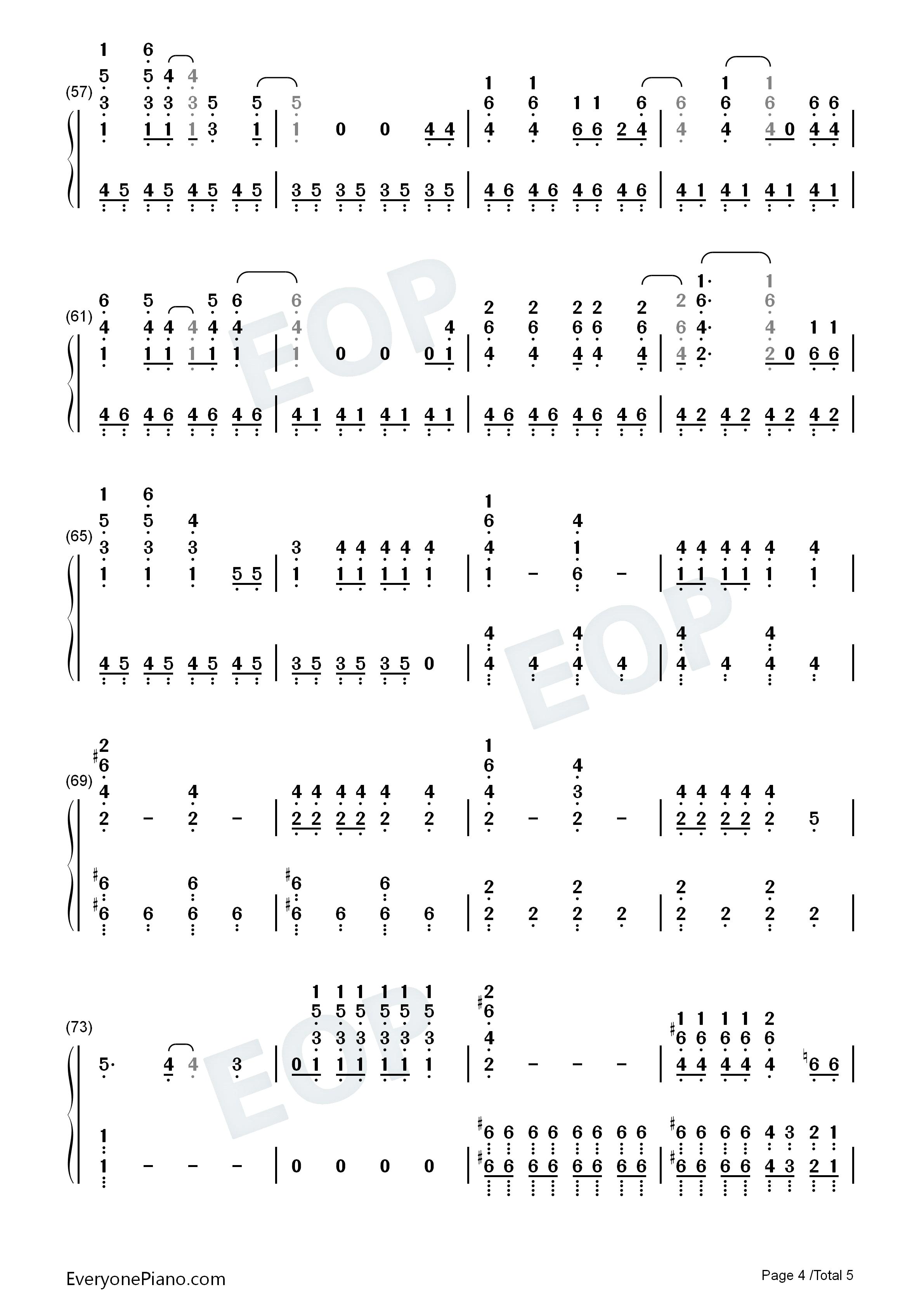 手简谱预览4 钢琴谱档 五线谱 双手简谱 数位谱 Midi PDF 免费下载