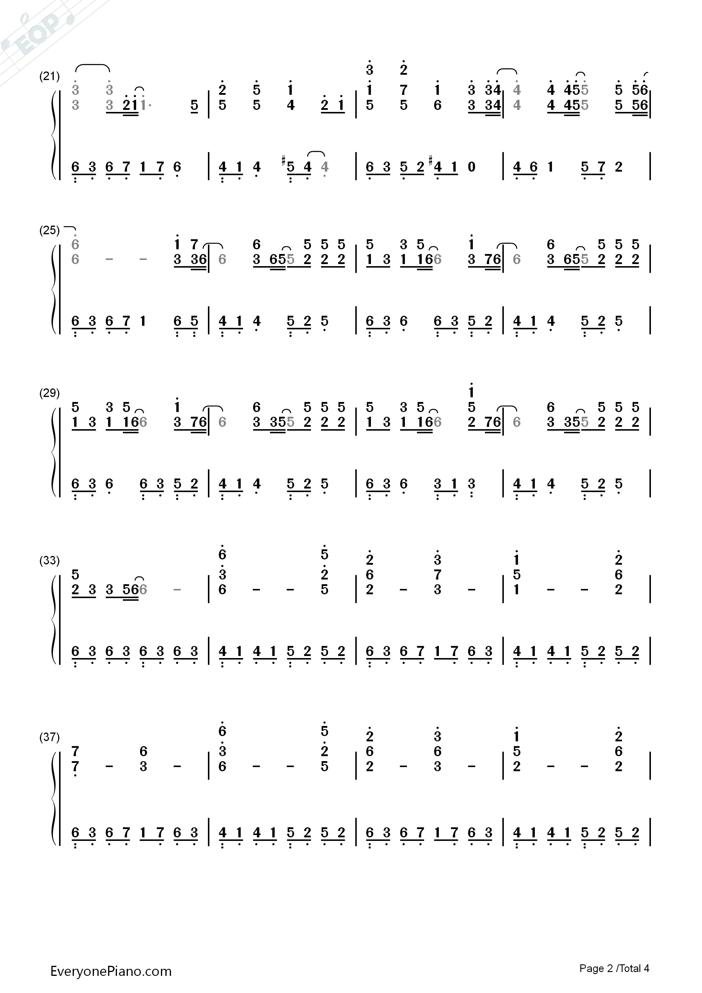 m-圣母玛利亚- 滨崎步双手简谱预览2
