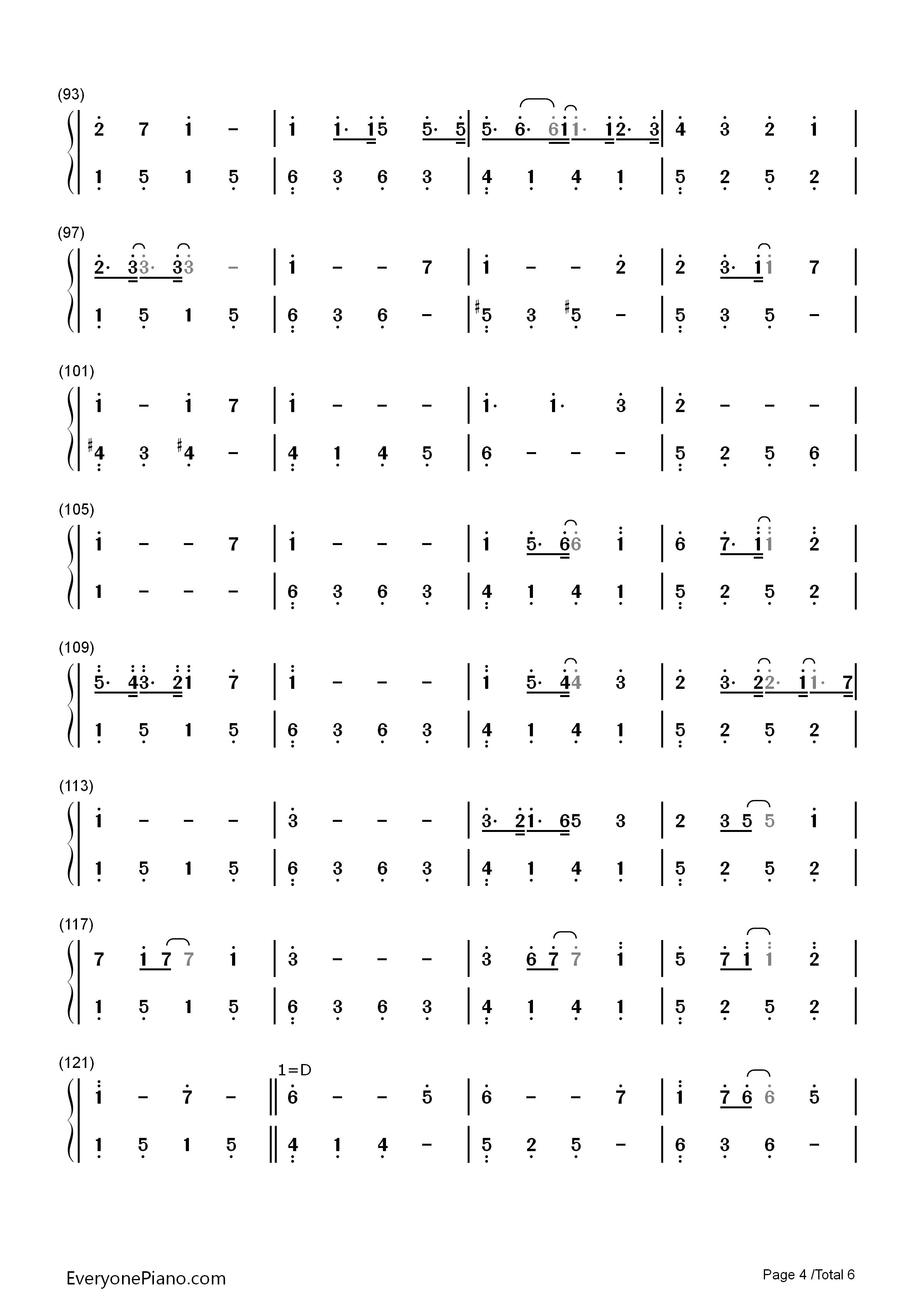 吉原哀歌-亚沙-重音teto双手简谱预览4图片