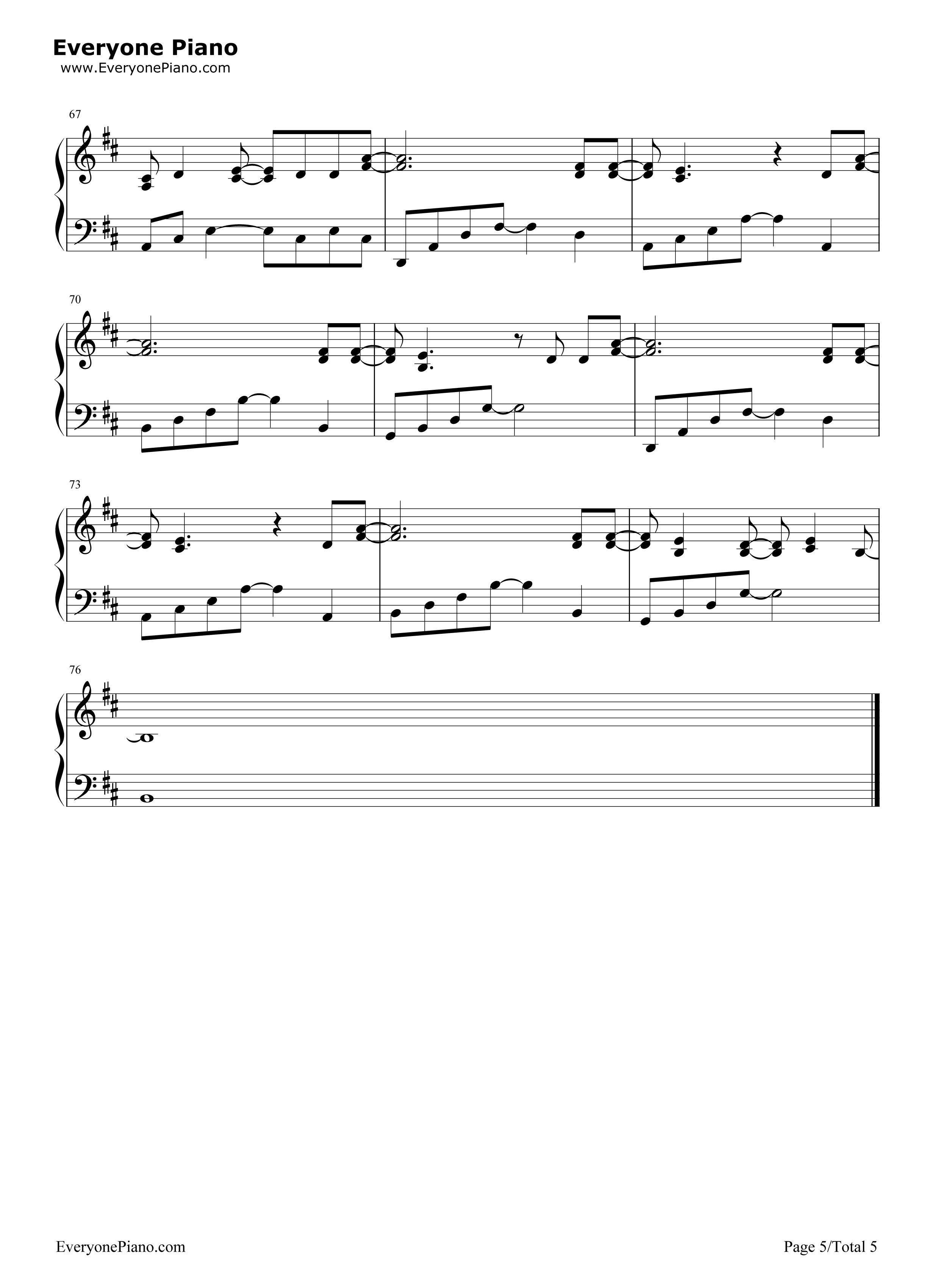 Loved Maroon 5五线谱预览5