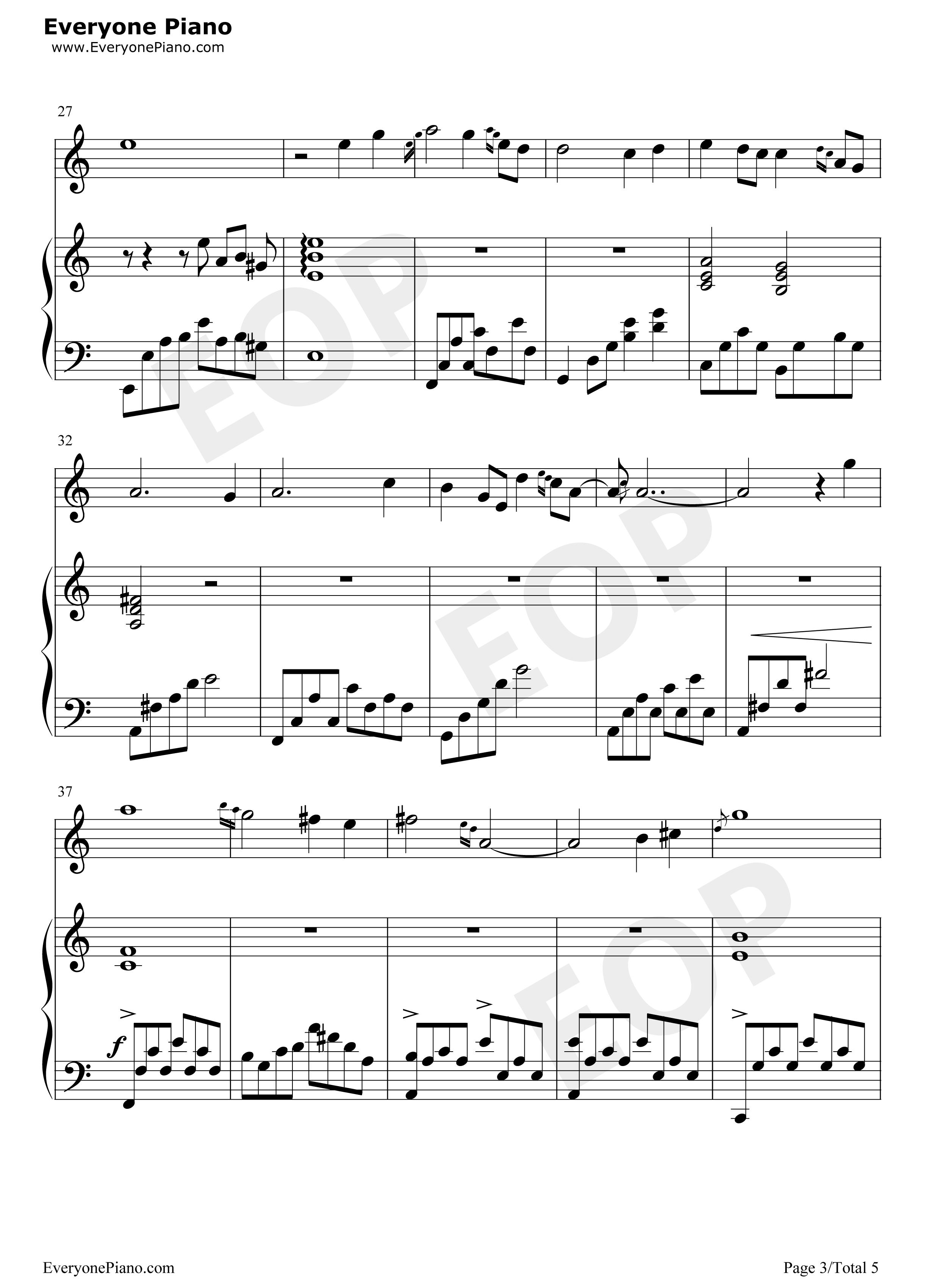钢琴曲谱 流行 卷珠帘-霍尊 卷珠帘-霍尊五线谱预览3  }  仅供学习