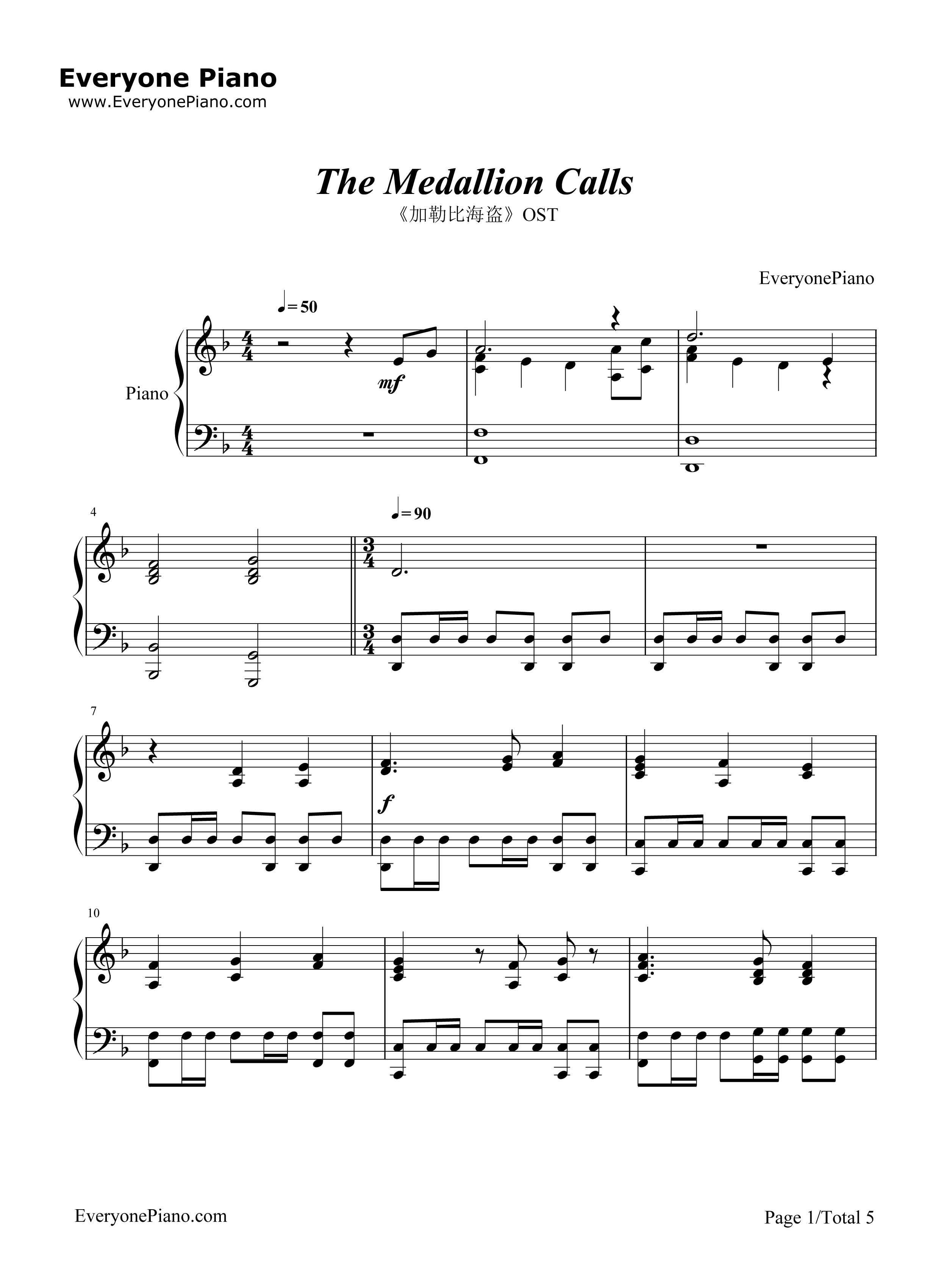 lion乐谱-The Medallion Calls 加勒比海盗 OST五线谱预览1